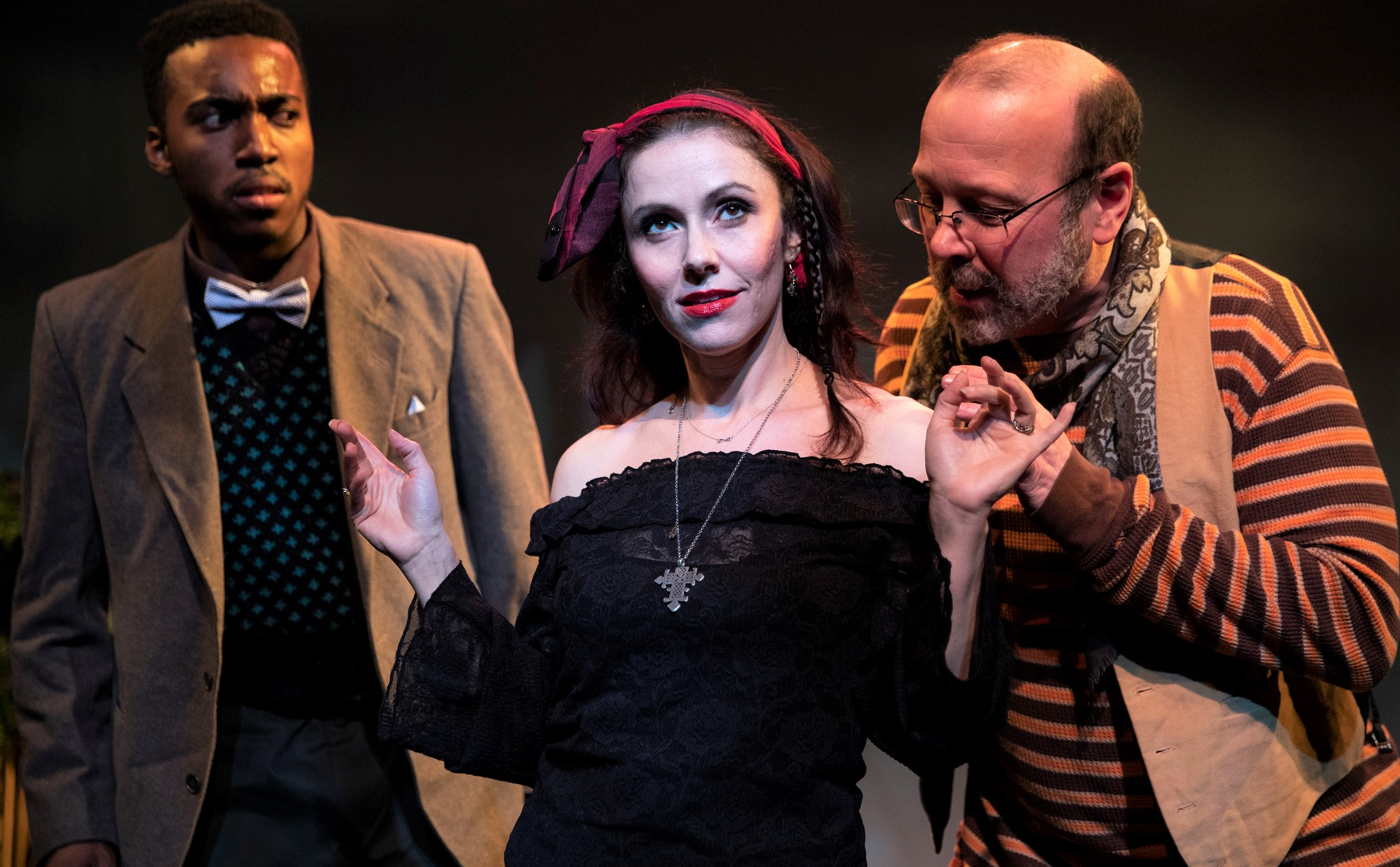 Amy Frances Quint as Maria with Jamar Brathwaite as Sir Andrew Aguecheek (left) and Kevin Hauver as Sir Toby Belch. Photographs by Maria Baranova.