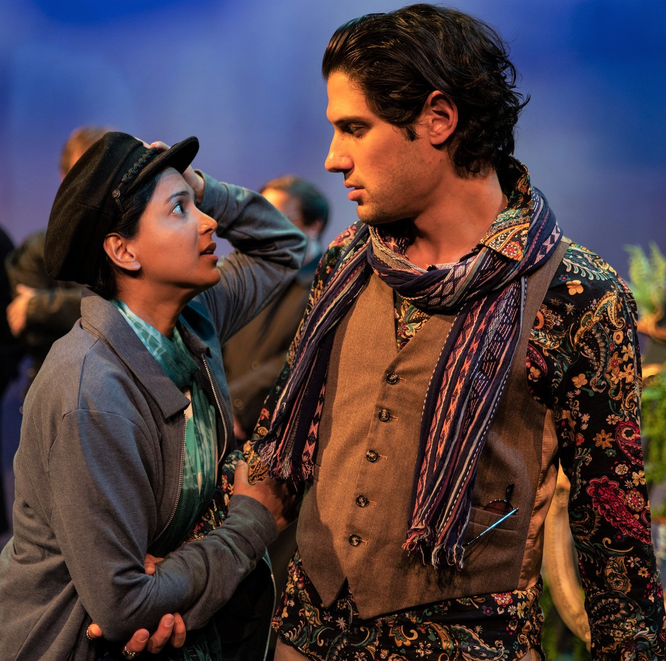 Alyssa Diamond as Viola (disguised as Cesario) and Jonathan Reed Wexler as Orsino in  Twelfth Night . Top: A priest (Shashwat Gupta, left) marries Sebastian (Kyle Primack) and Olivia (Karoline Patrick).