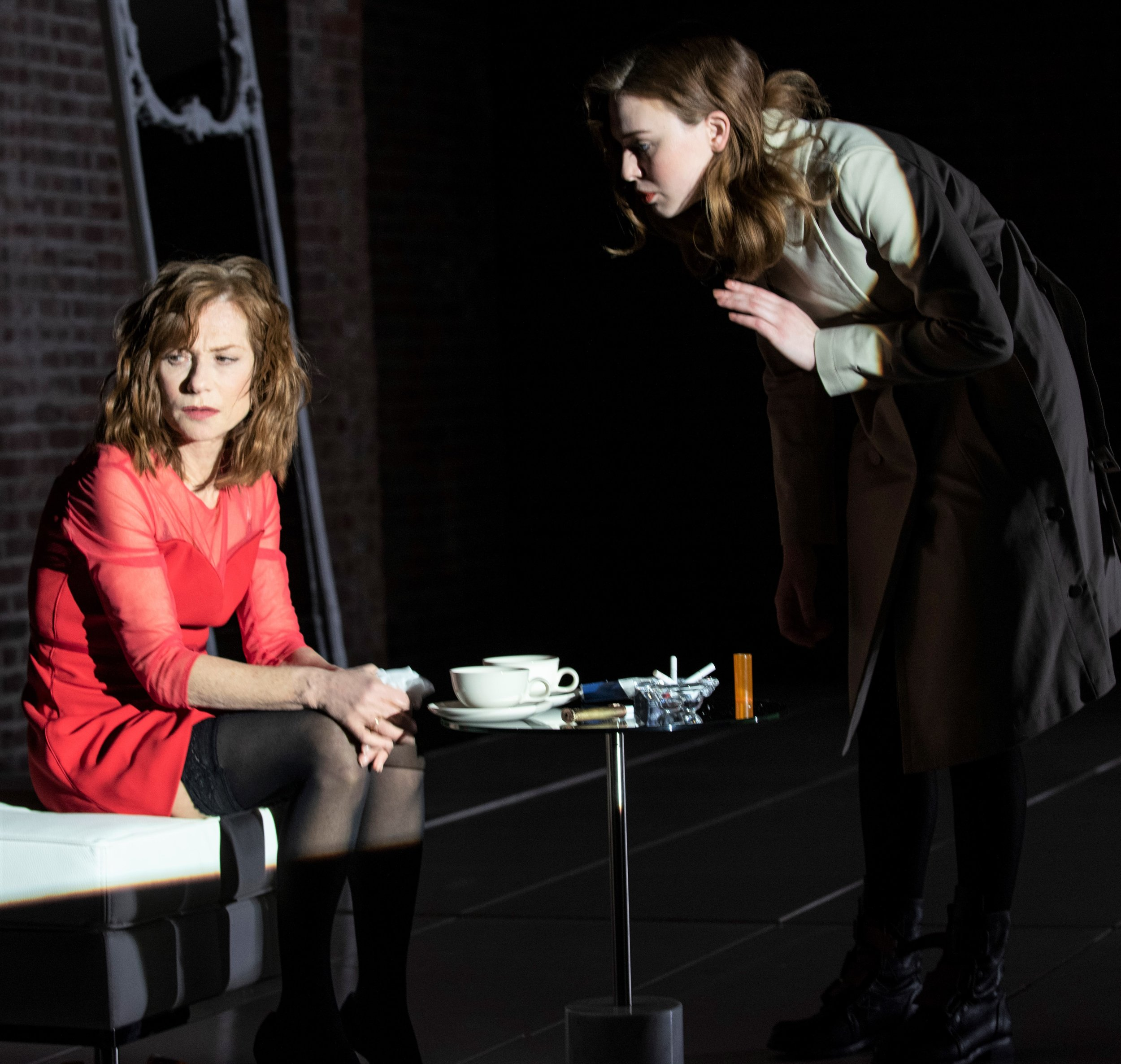 Huppert with Odessa Young as Emily, her son's girlfriend. Photographs by Ahron R. Foster.