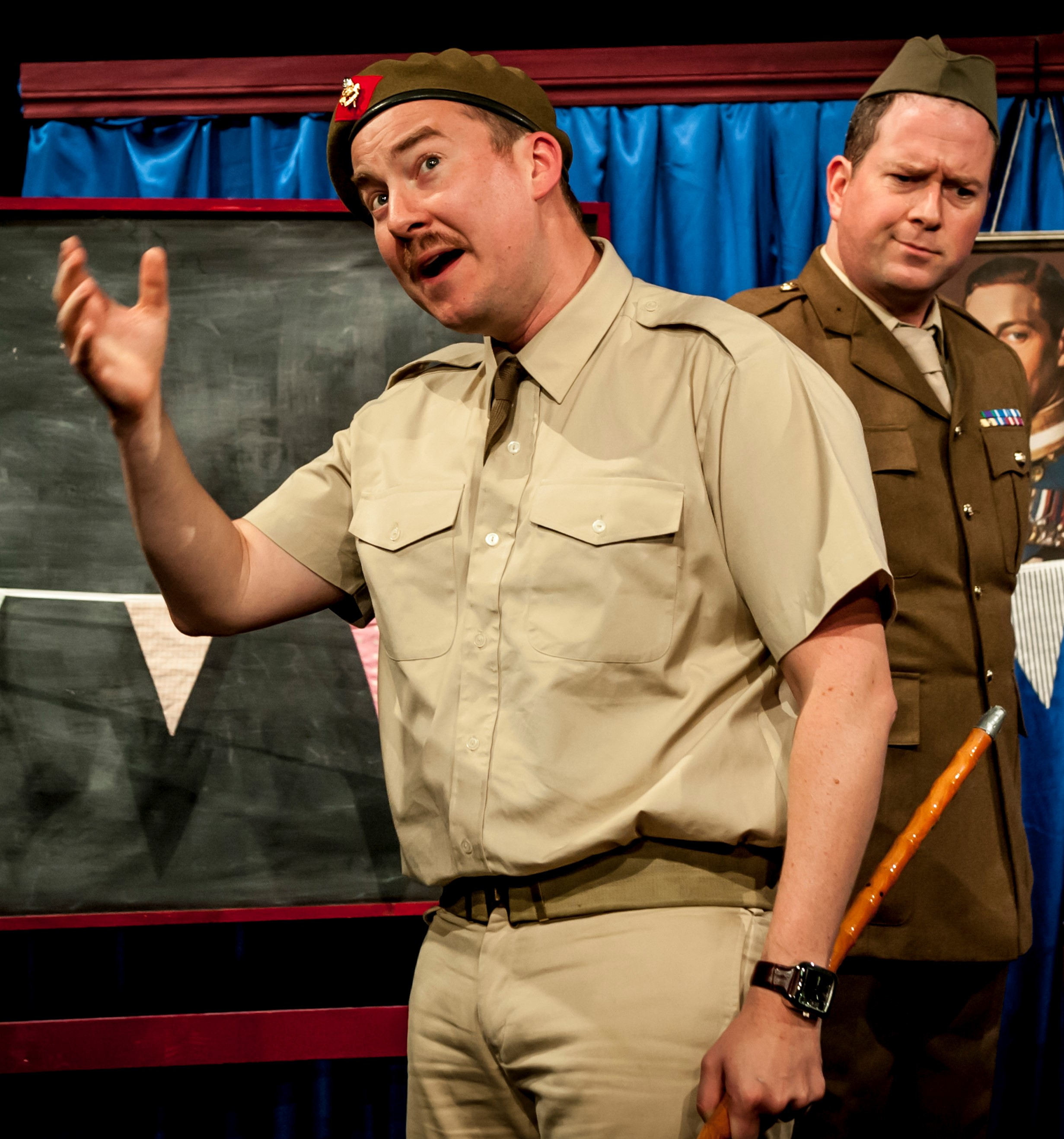 Matt Sheahan (left) is Major Gibbons and Dan March is Colonel Atwood in  Instructions for American Servicemen in Britain.  Top: March with James Millard (left) as Captain Schultz.