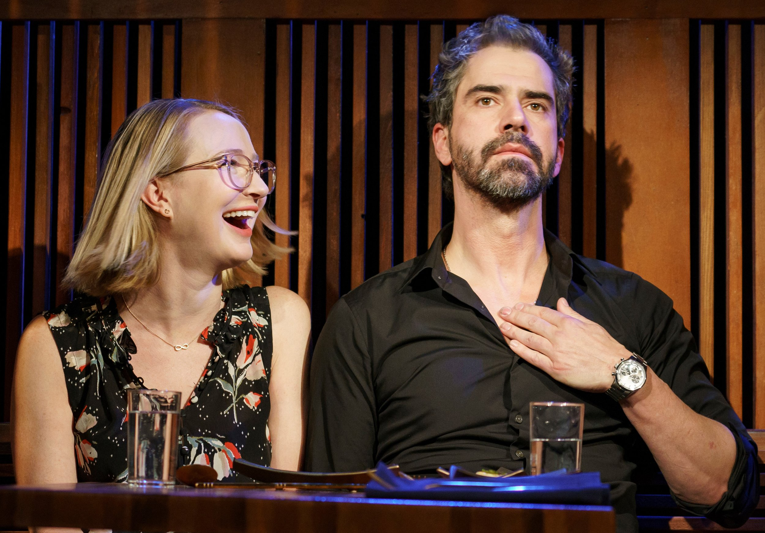 Halley Feiffer plays Cat, and Hamish Linklater is Guy in Feiffer's drama,  The Pain of My Belligerence.  Top: Cat and Guy square off four years into their affair.
