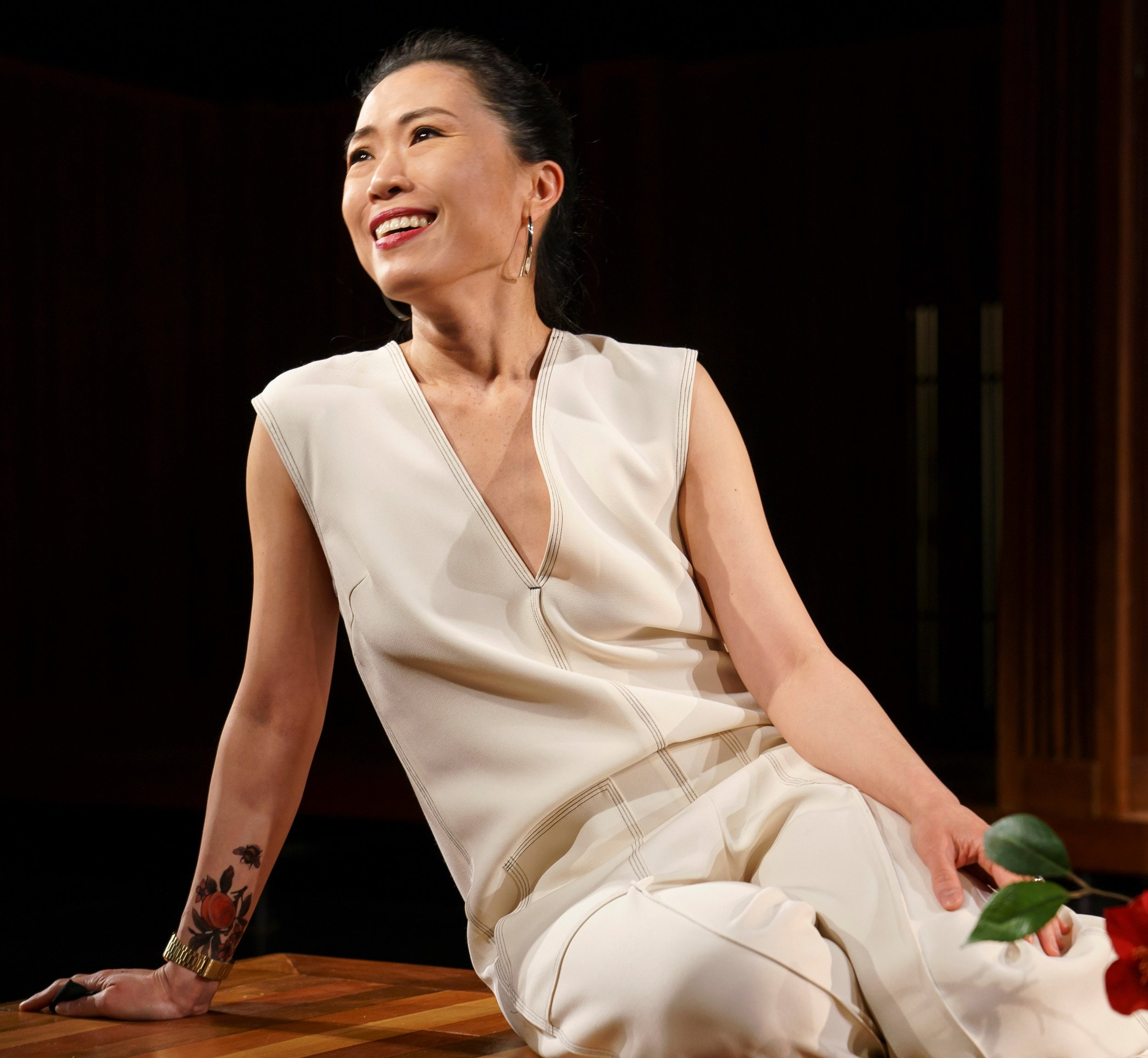 Vanessa Kai plays Yuki, Guy's wife, in  The Pain of My Belligerence.  Photographs © Joan Marcus.