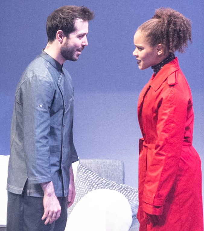 Joe Chisholm (left) plays Micah, and Traci Elaine Lee is his wife, Lauren, in S. Asher Gelman's  Safeword . Top: Lauren flogs Micah in a dream sequence, as Micah's dom, Xavier (Jimmy Brooks), watches.
