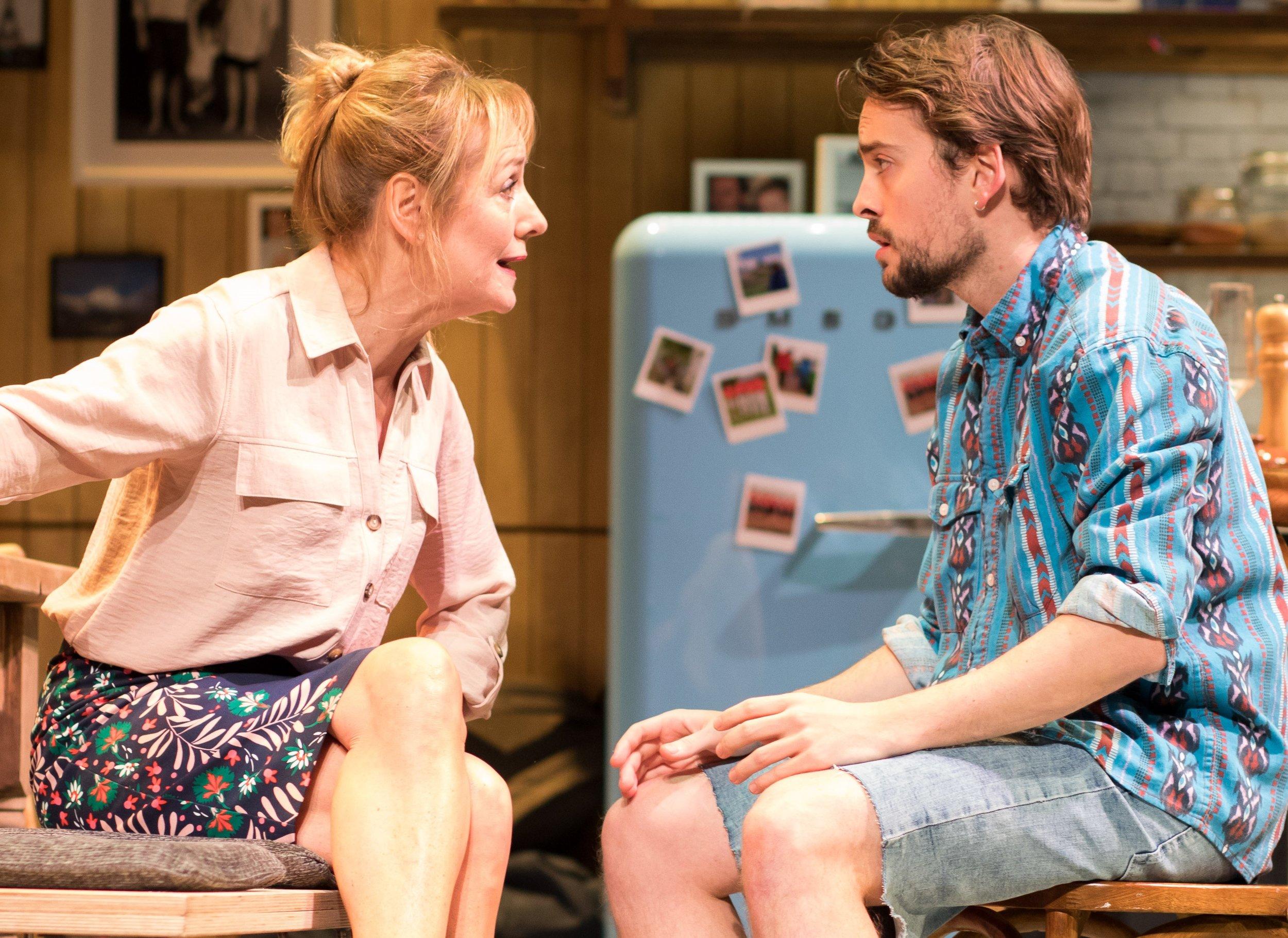 Caroline (Caroline Langrishe) speaks with son Leo (Tom England) in Caroline's Kitchen. Photographs by Sam Taylor.