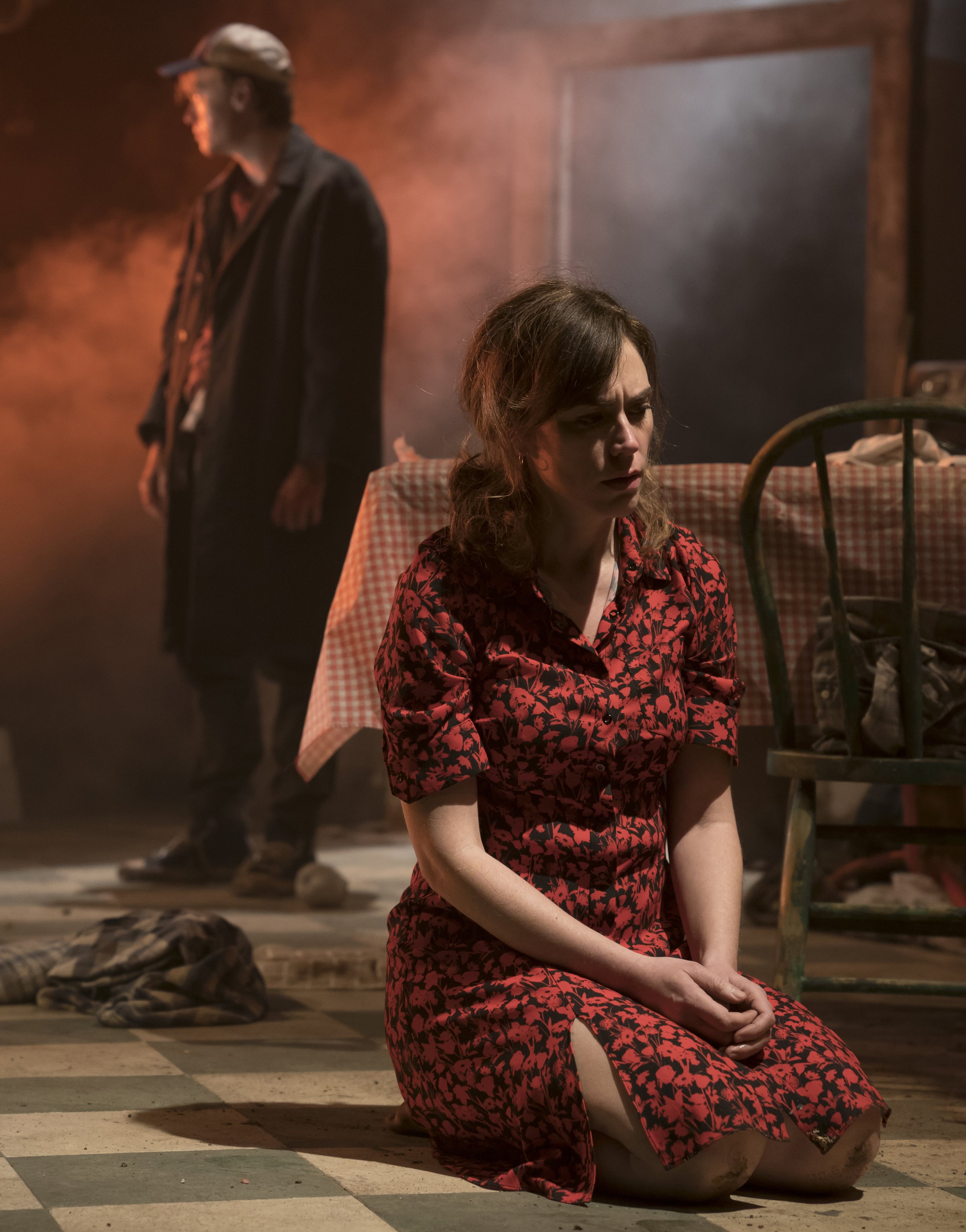 Maggie Siff (foreground) as Ella, with Wesley (Geary) now in his father's clothes. Photographs by Joan Marcus.