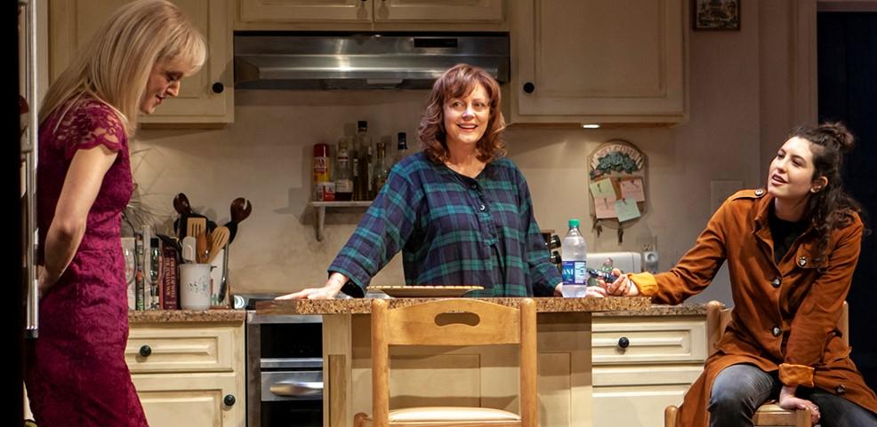 Ljuba (Marin Ireland, left), Lorraine (Susan Sarandon), and Jenny (Tedra Millan) in Jesse Eisenberg's Happy Talk. Top: Lorraine comes between Ronny (Nico Santos) and Ljuba.