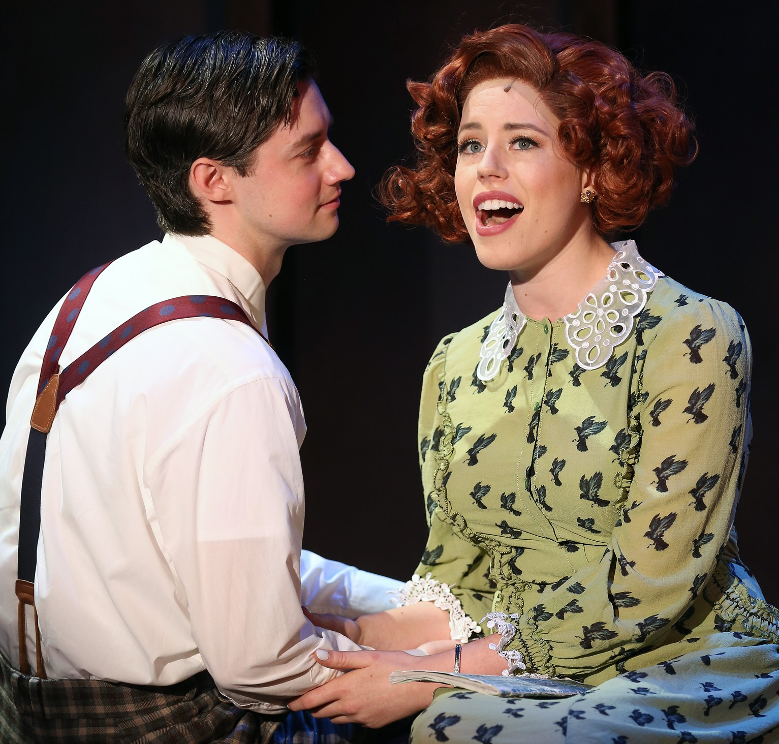 Chris Dwan as David shares a tender moment with Allie Trimm, who plays his girlfriend Wanda. Top: Dwan, surrounded by the women who adore him (from left: Farah Alvin as Angela Marlowe, Dana Costello as Miss B, and Trimm).