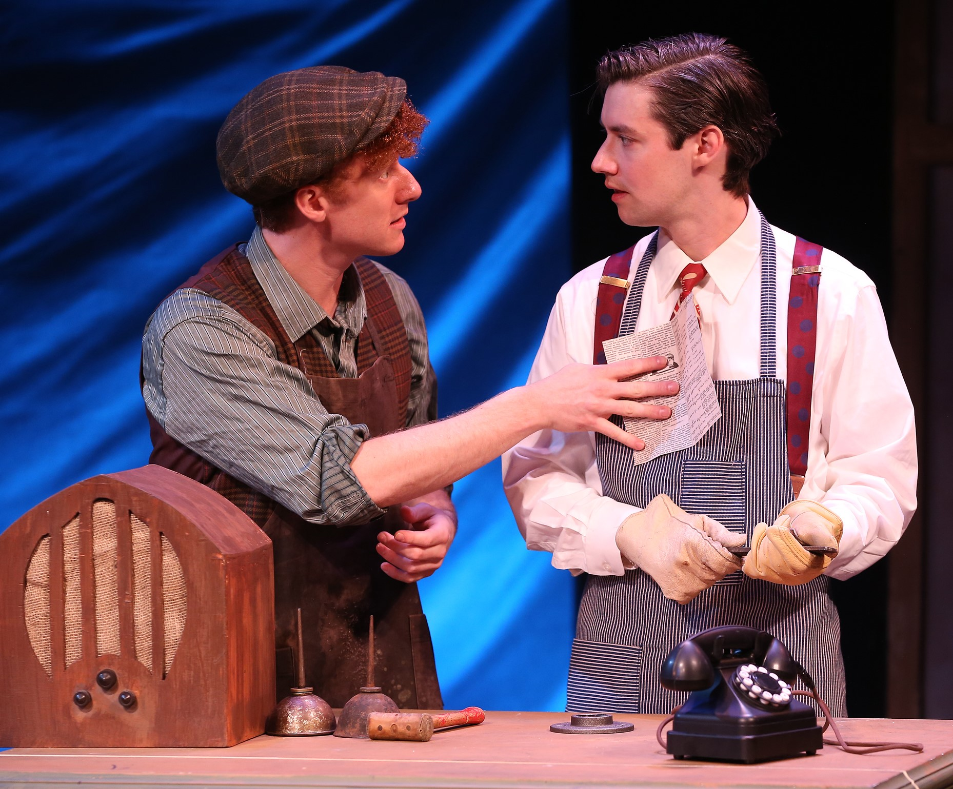 Joe Veale is Marvin (left), David's best friend and confidant. Photographs by Carol Rosegg.