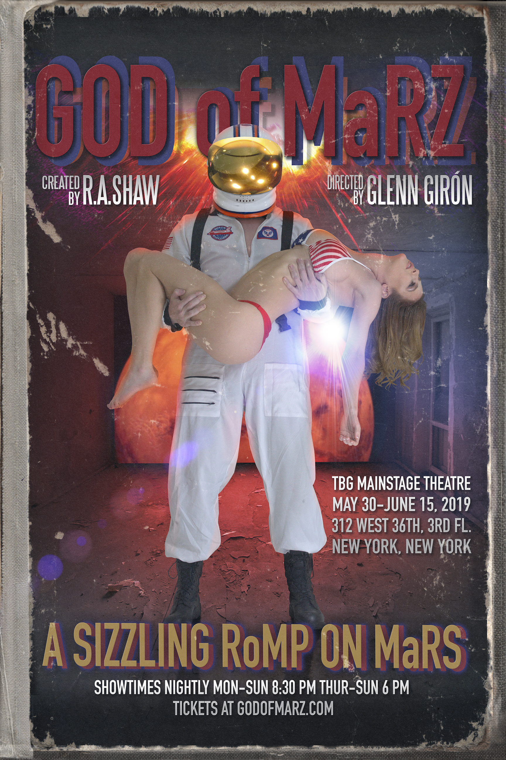 Bryan Ward's poster design for the show. Top: Rachel Sheen as the Woman in the Moon.