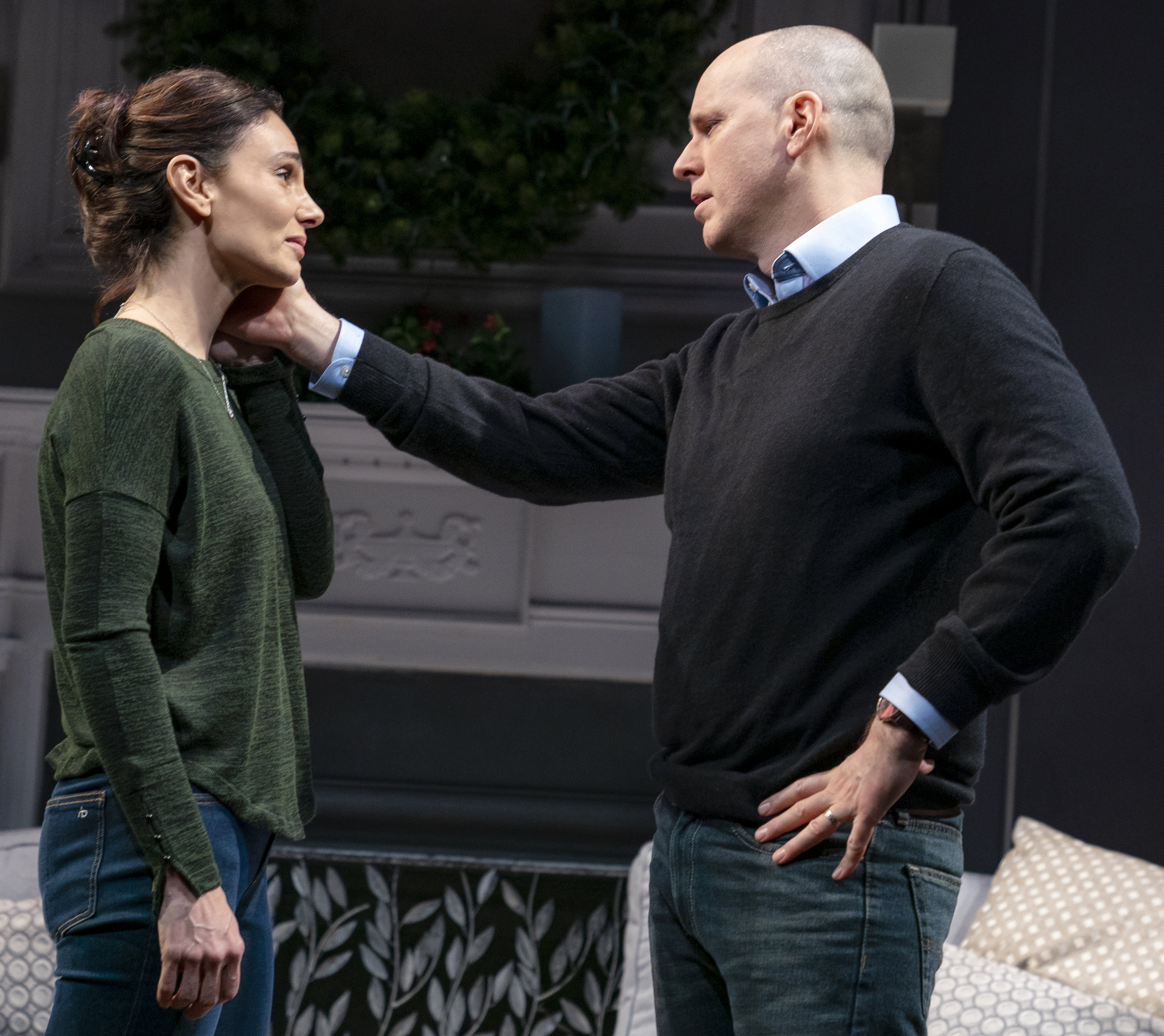 Annie Parisse (left) plays Molly, and Kelly AuCoin is her husband, David, in Donald Margulies's  Long Lost.  Top: Lee Tergesen (left) as Billy, with his nephew, Jemmy (Alex Wolff).