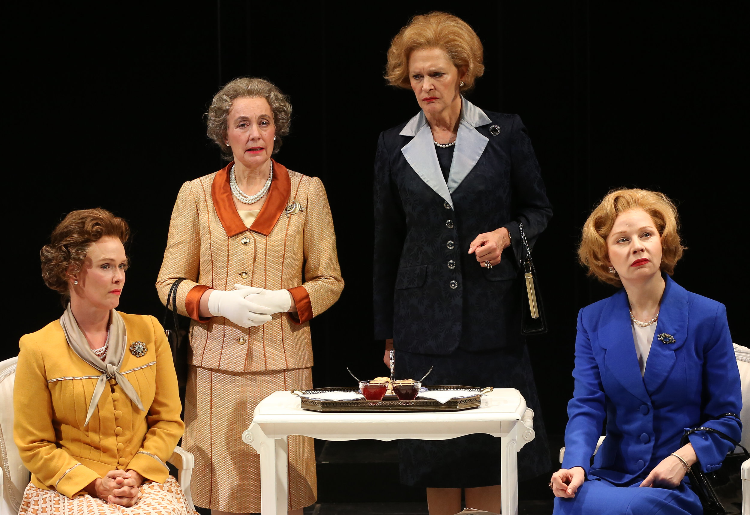 From left: Liz (Beth Hylton), Q (Anita Carey), T (Kate Fahy), and Mags (Susan Lynskey) in Moira Buffini's  Handbagged.