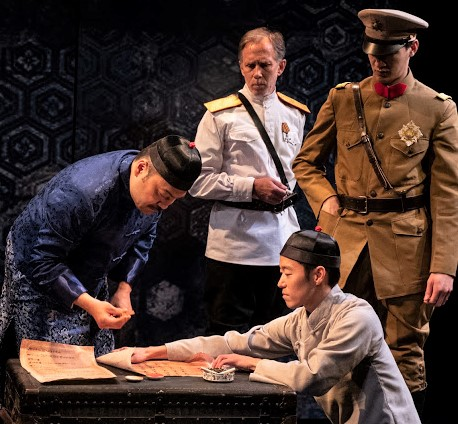 From left: David Shih as the Deputy, Bruce McKenzie as Colonel Gasparov, Aaron Yoo (kneeling) as the Vice Censor, and Chin-Lyn in Gordon Dahlquist's  [Veil Widow Conspiracy].