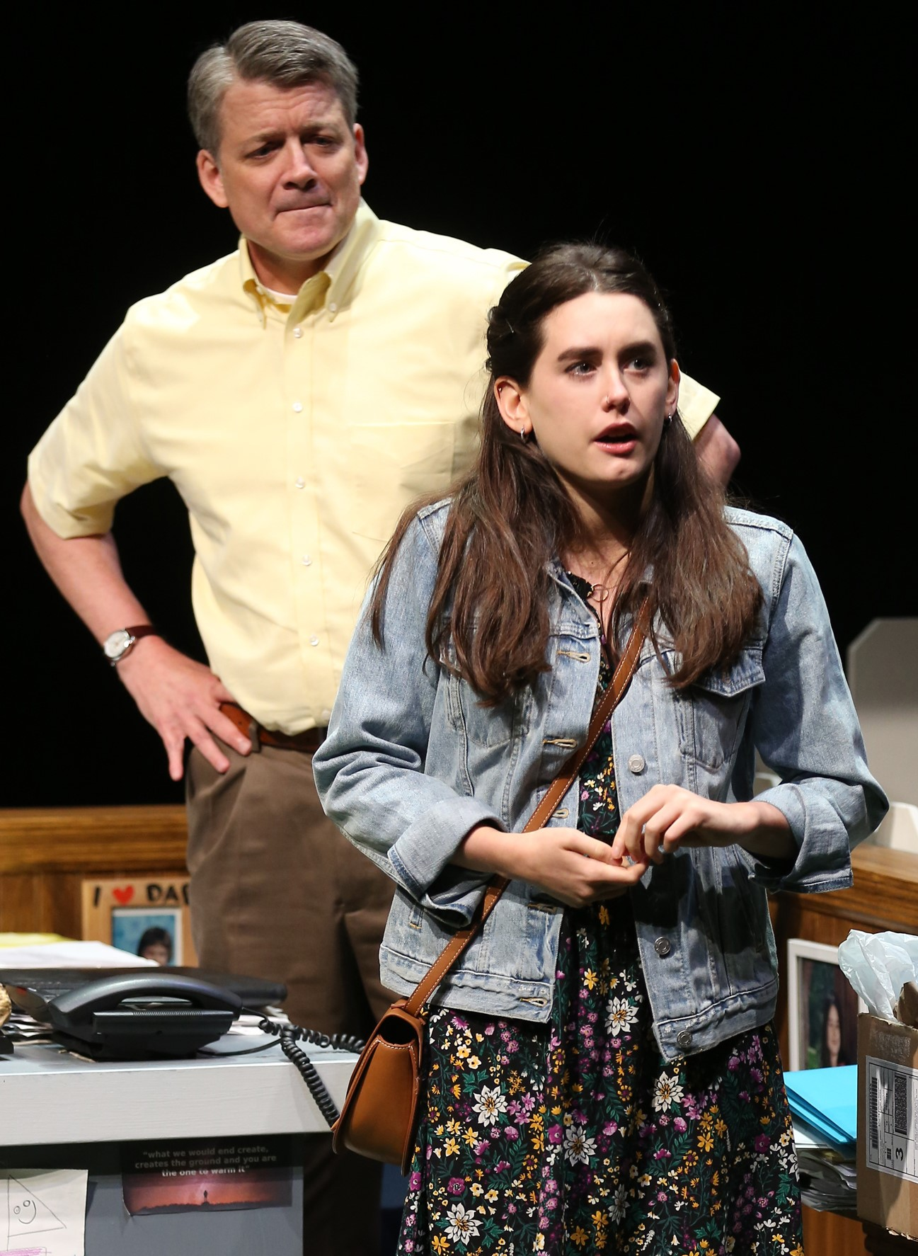 Hannah and her father, Ed Sink (Chris Henry Coffey), have trouble communicating. Photographs by Carol Rosegg.