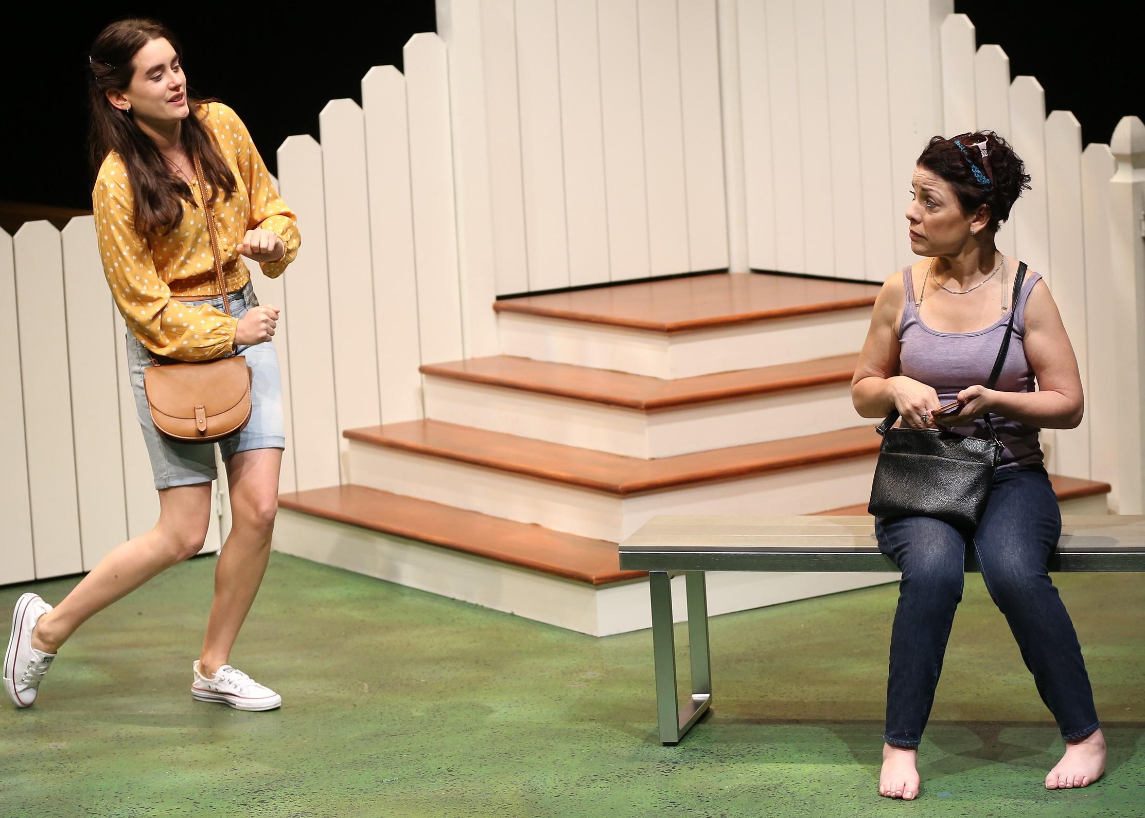 Hannah Sink (Anna Lentz, left) befriends Miriam (Christine Bruno) in Bekah Brunstetter's  Public Servant.