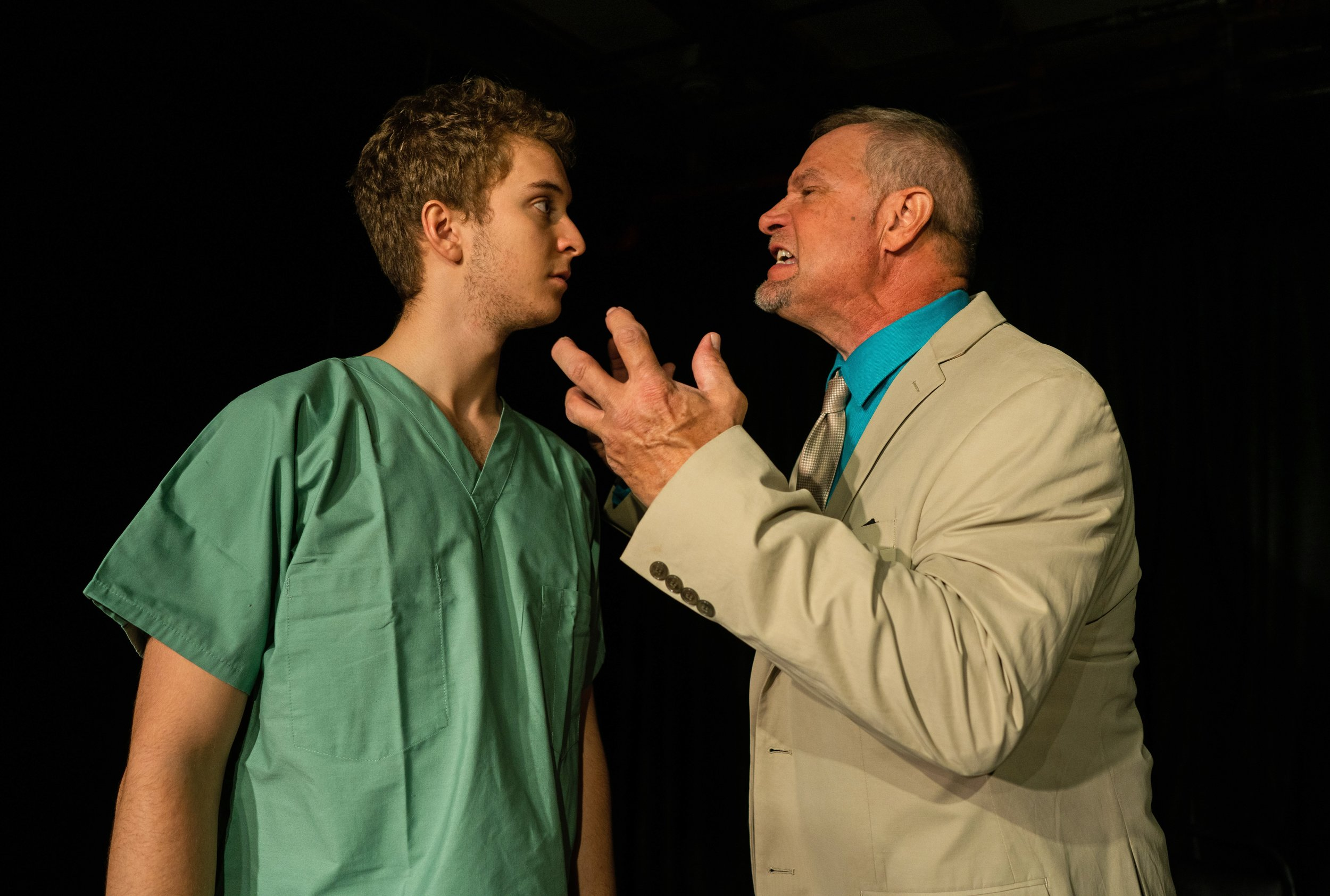 Connor Chase Stewart (left) portrays playwright Richard Roy (right) for the bulk of  A White Man's Guide to Rikers Island , which relates Roy's experience in the prison as a young man.