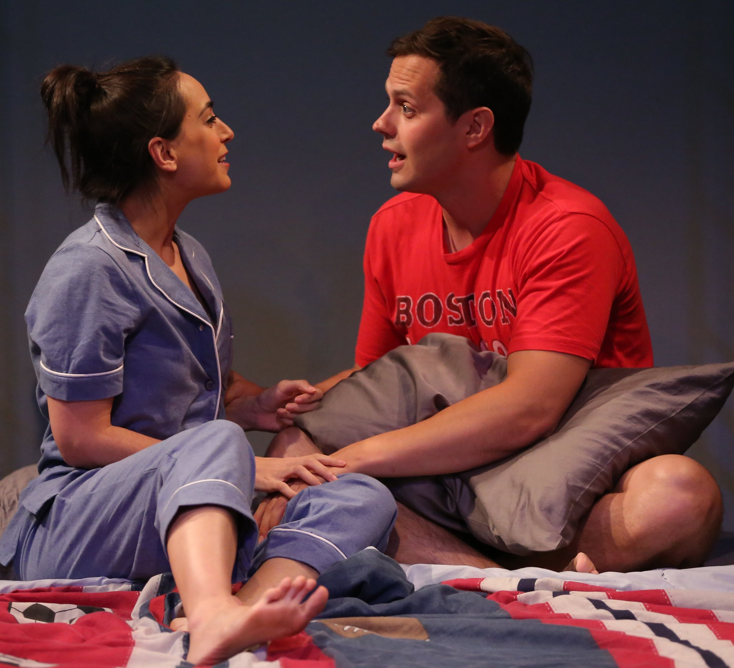Renee (Blair Lewin, left) and her husband Michael (Jake Robinson) spend a night in Michael's childhood room in Nancy Bleemer's  Providence.  Photographs by Carol Rosegg.