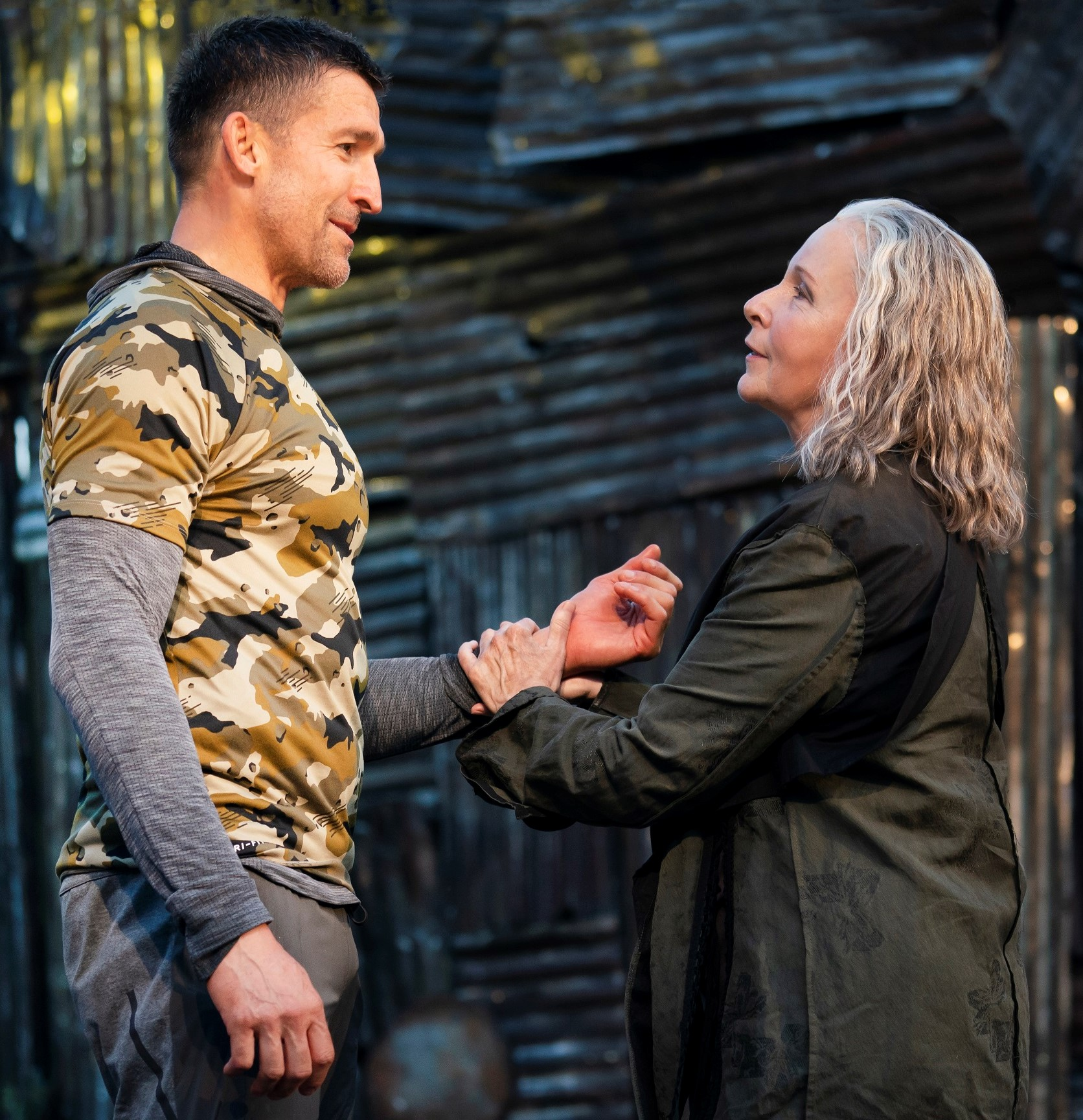 Jonathan Cake (left) is a warrior general and Kate Burton is his tough-minded mother Volumnia, in William Shakespeare's  Coriolanus  at the Delacorte Theater in Central Park.