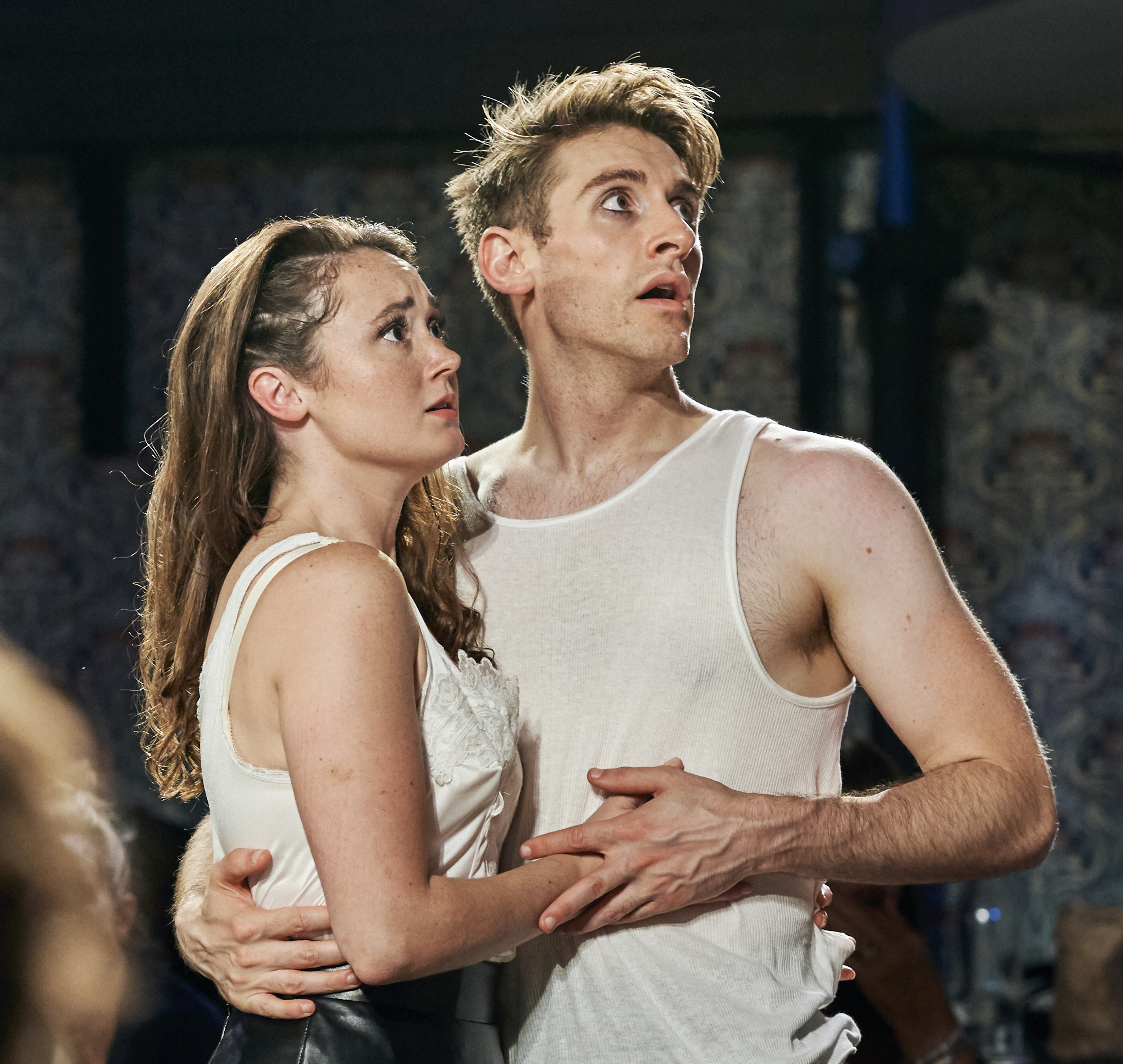 Amos as Hermia, with Gould as Lysander. Photographs by Chad Batka.