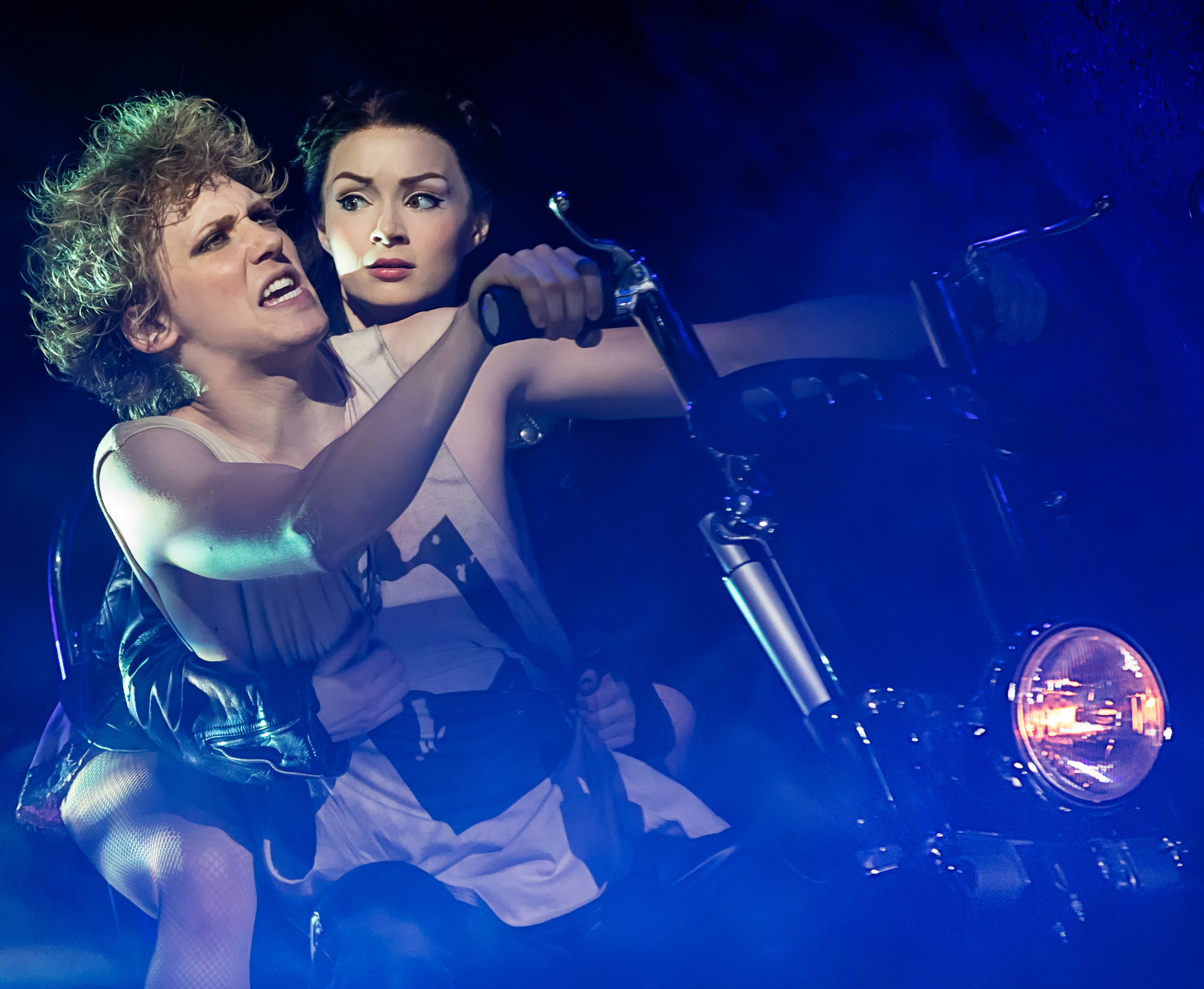 Strat (Andrew Polec) and Raven (Christina Bennington) in an act of rebellion.