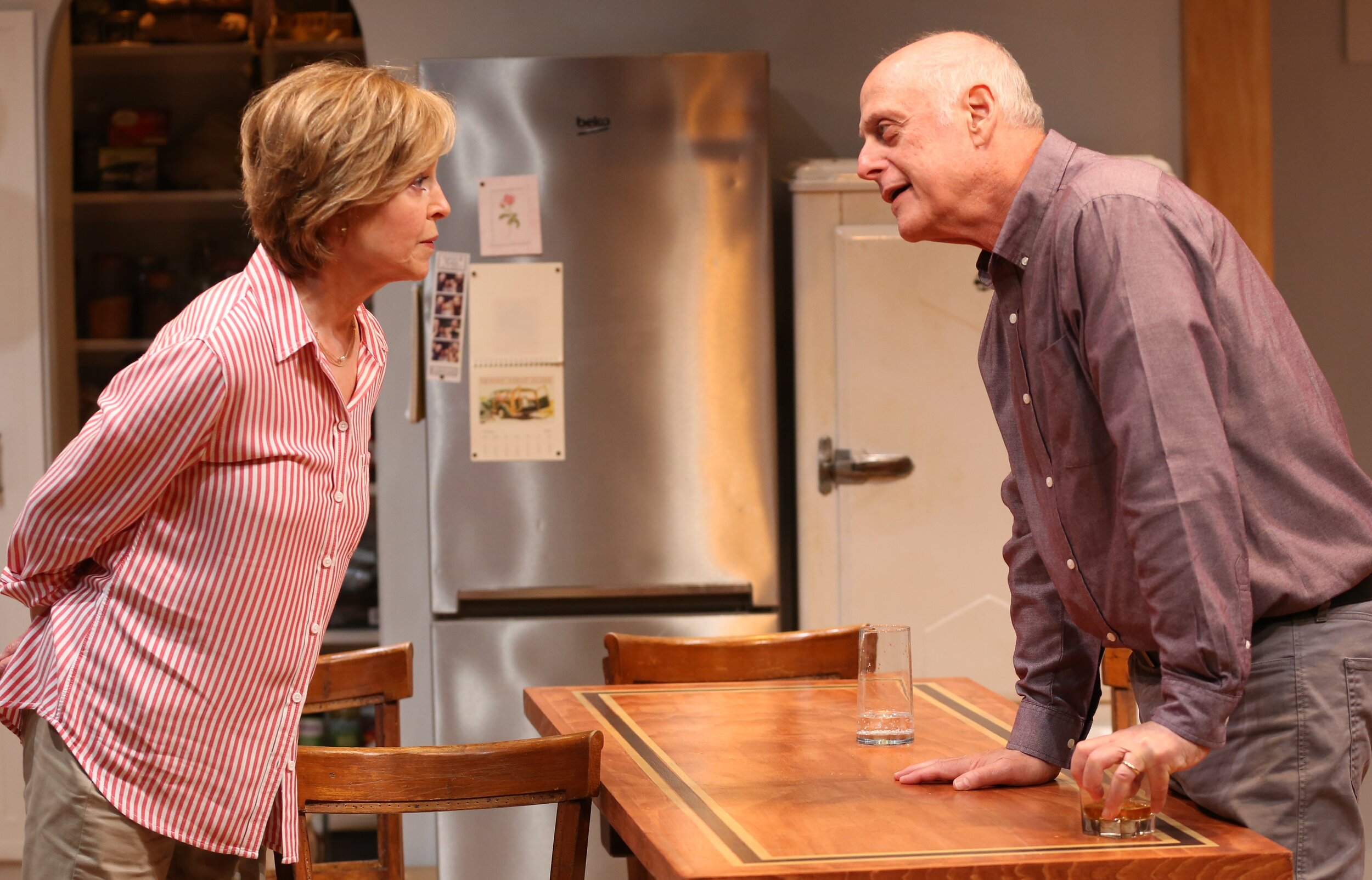 Sunny and Jer (Mark Blum) seek common ground. Photographs by Carol Rosegg.