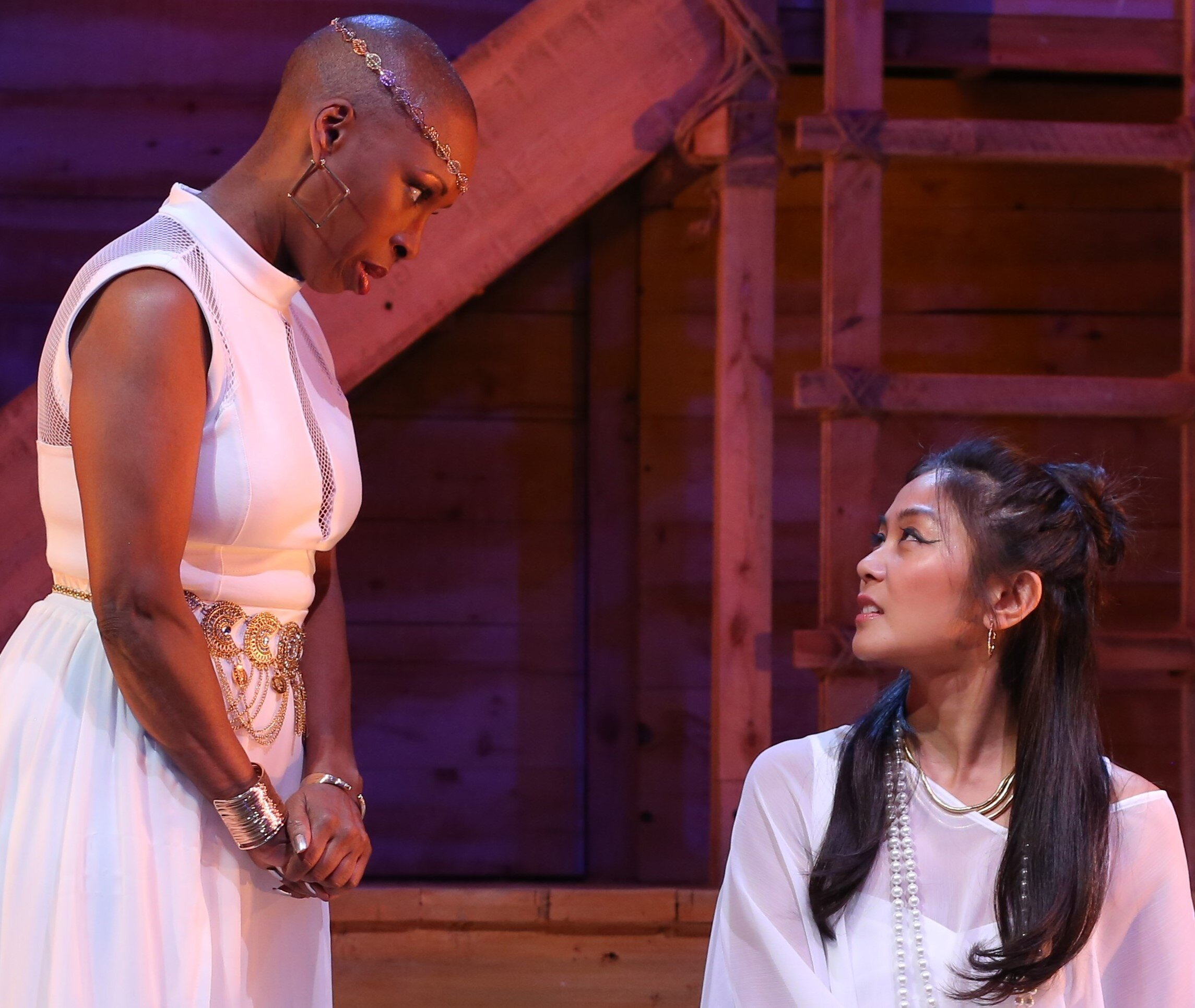 Cleopatra struggles with the domination of her chief nurse, Ftatateeta (Brenda Braxton).