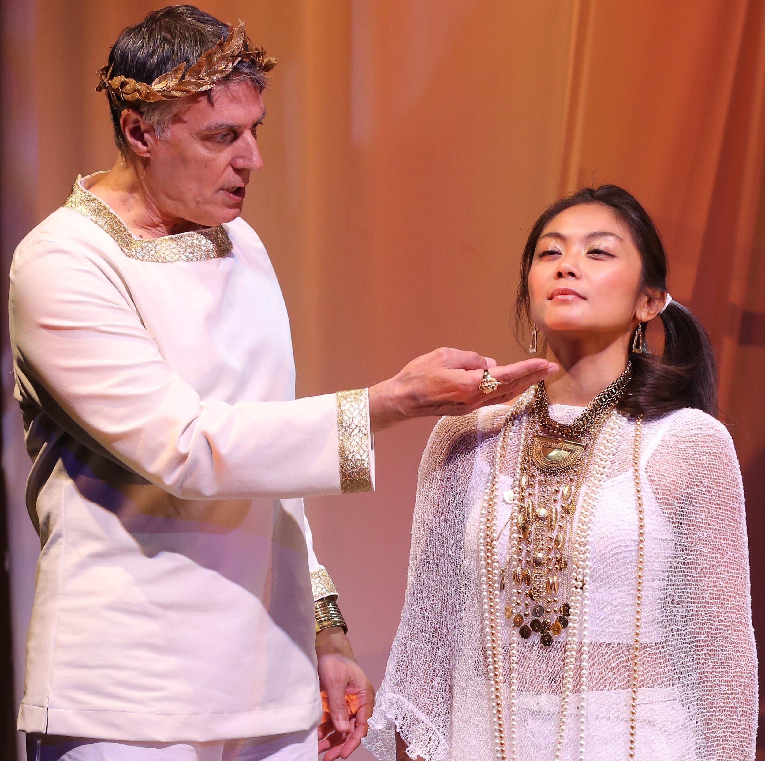 Robert Cuccioli plays Julius Caesar and Teresa Avia Lim is Cleopatra in George Bernard Shaw's  Caesar and Cleopatra.  Photographs by Carol Rosegg.