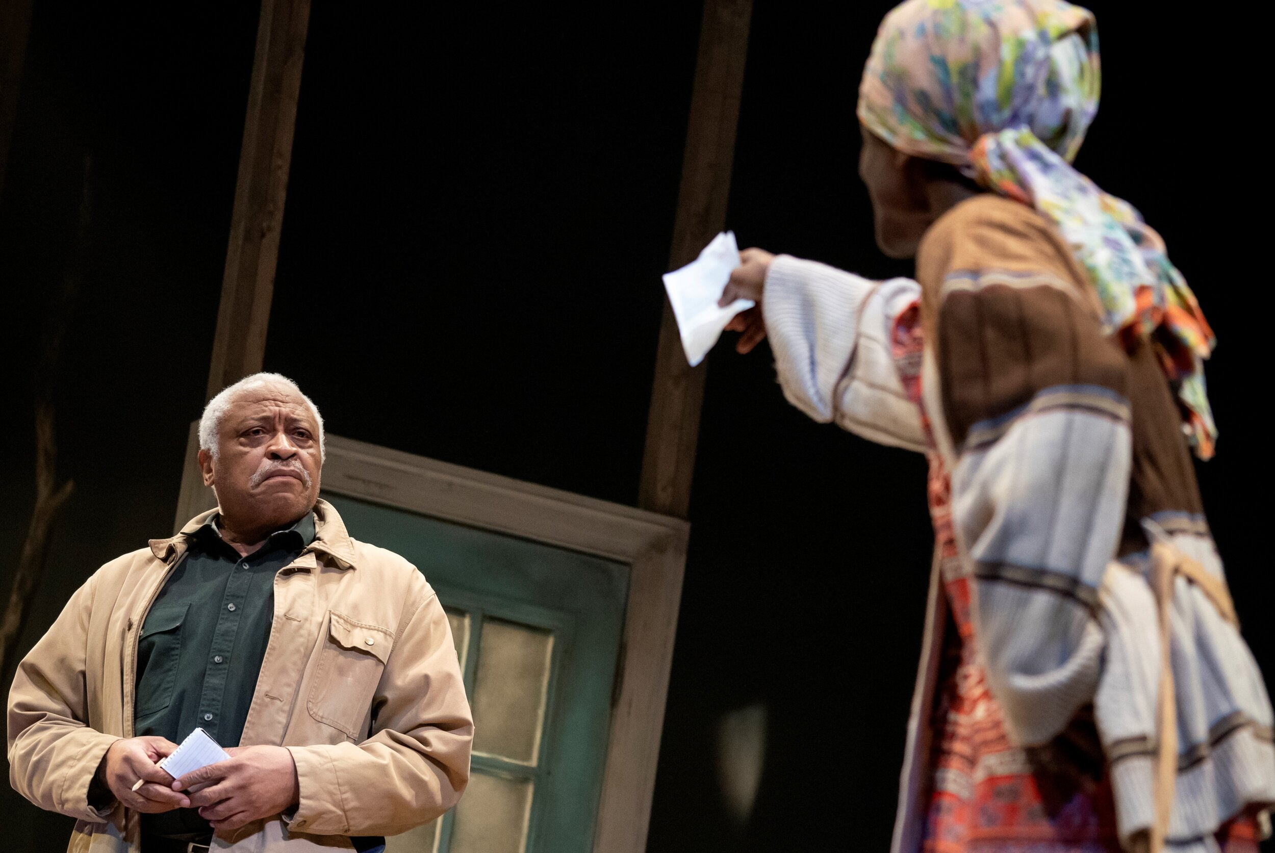 Azell Abernathy (Ron Canada) is a solid physical presence, but Abasiama Ufot (Patrice Johnson Chevannes) senses something off kilter in his soul. Photographs by Joan Marcus.
