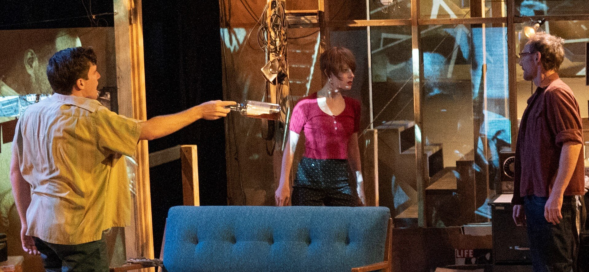From left: Spencer Hamp, Christina Toth, and P. J. Sosko in  (A)loft Modulation  by Jaymes Jorsling.