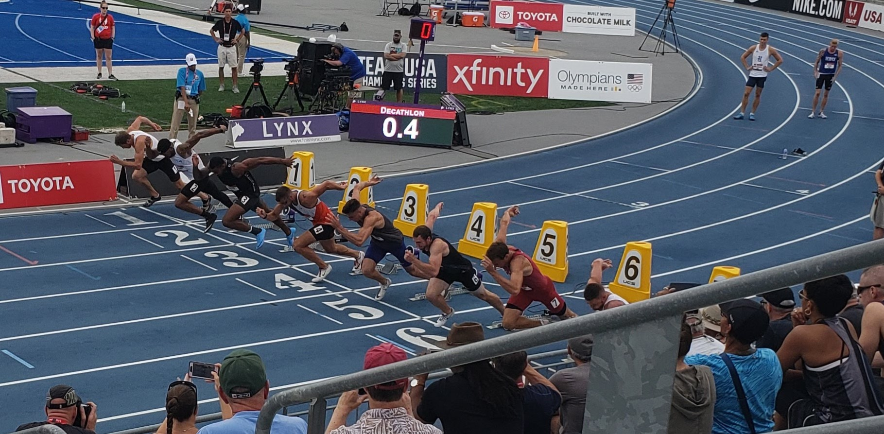 Start of the 100m dash (I'm in lane 1)