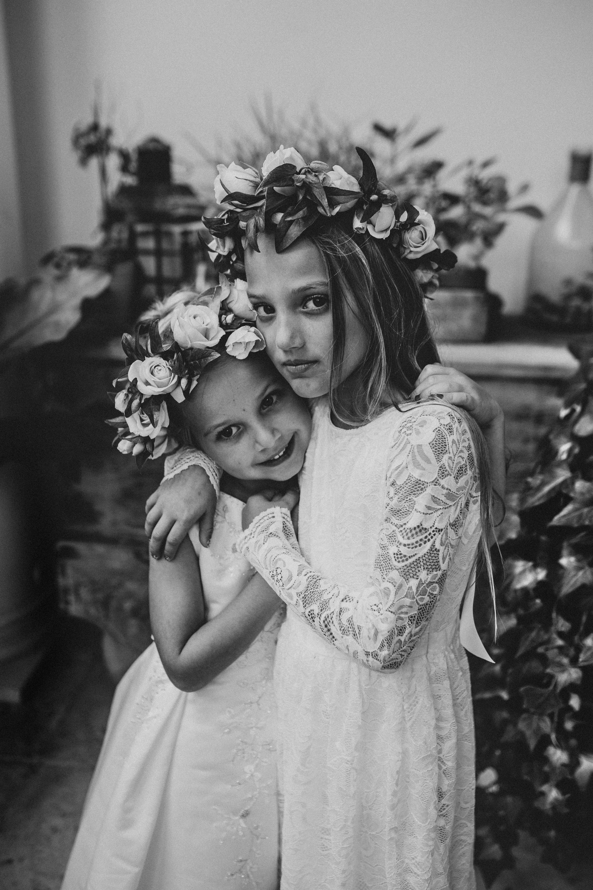 flower girls on wedding day