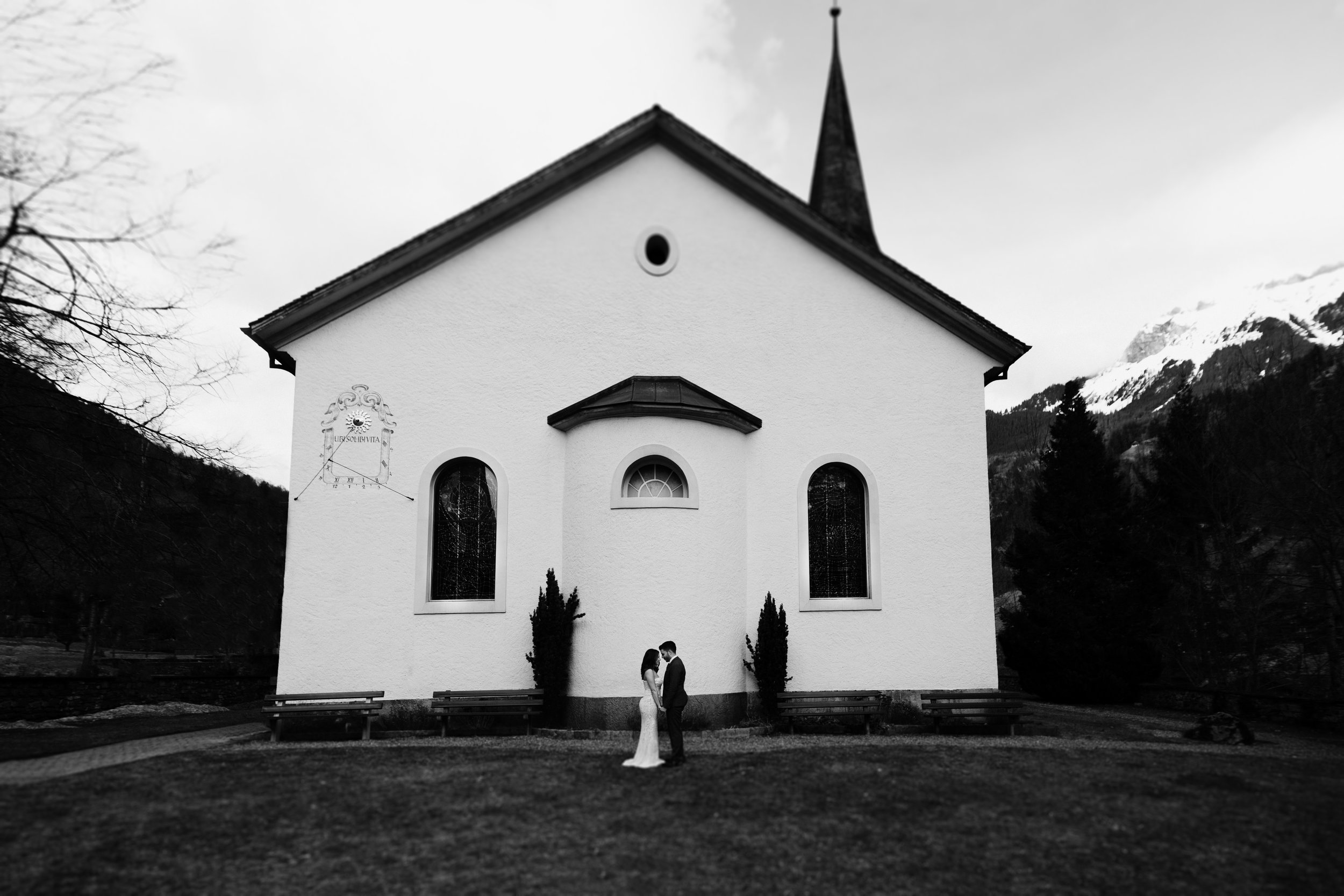 switzerland church wedding portrait