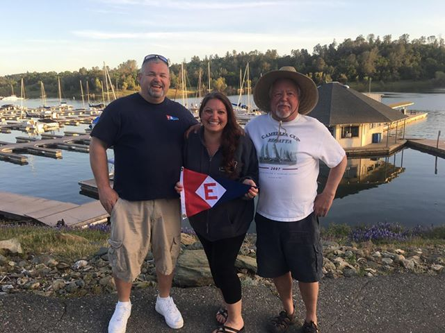 Glen Hughes, Mia Albright, and Ron Fish fly their colors at the Camellia Cup at Folsom Lake, CA.