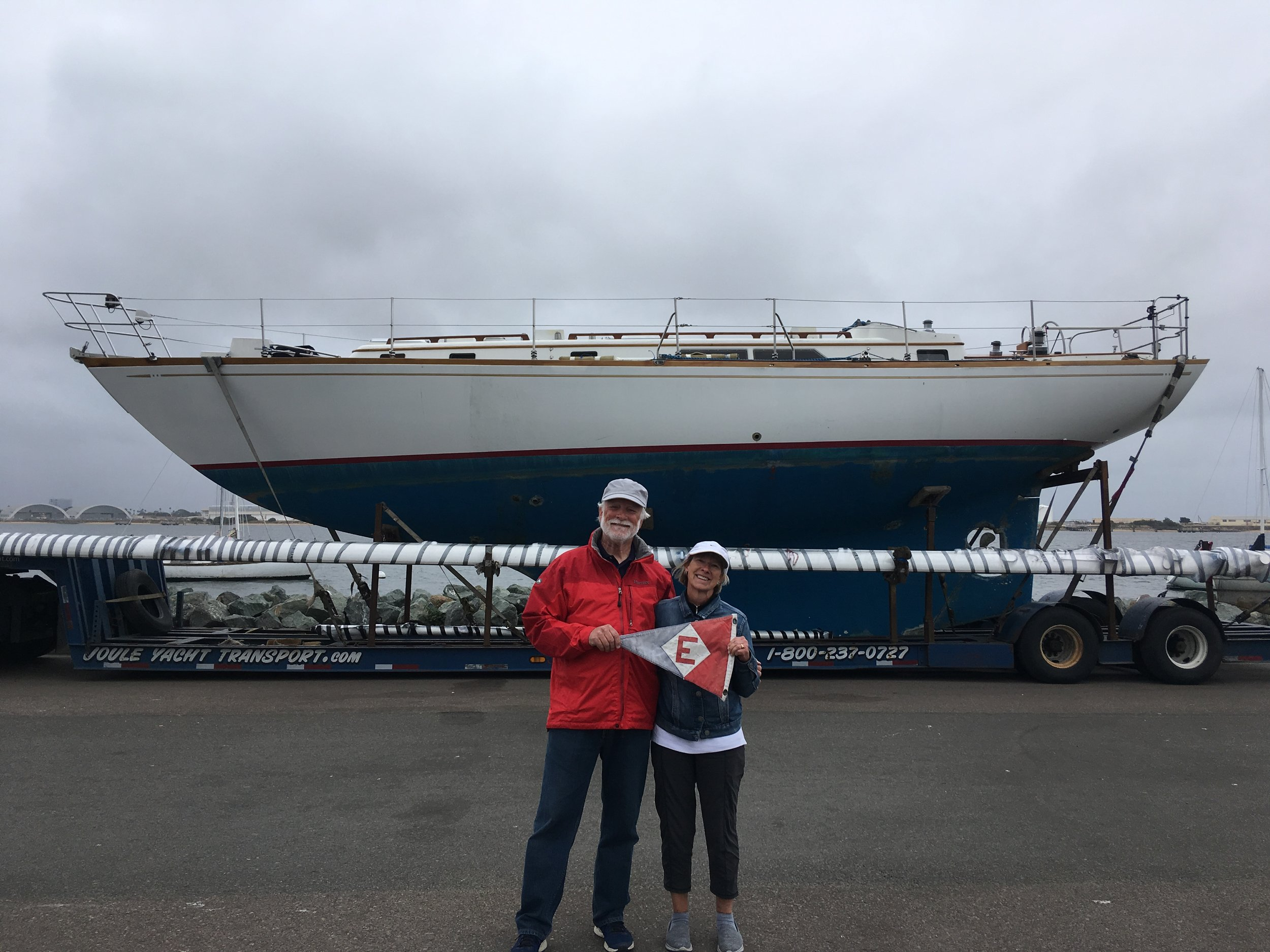 Ken and Chris Emmes in San Diego, CA at the start of the journey to take their new boat to Port Townsend, WA.