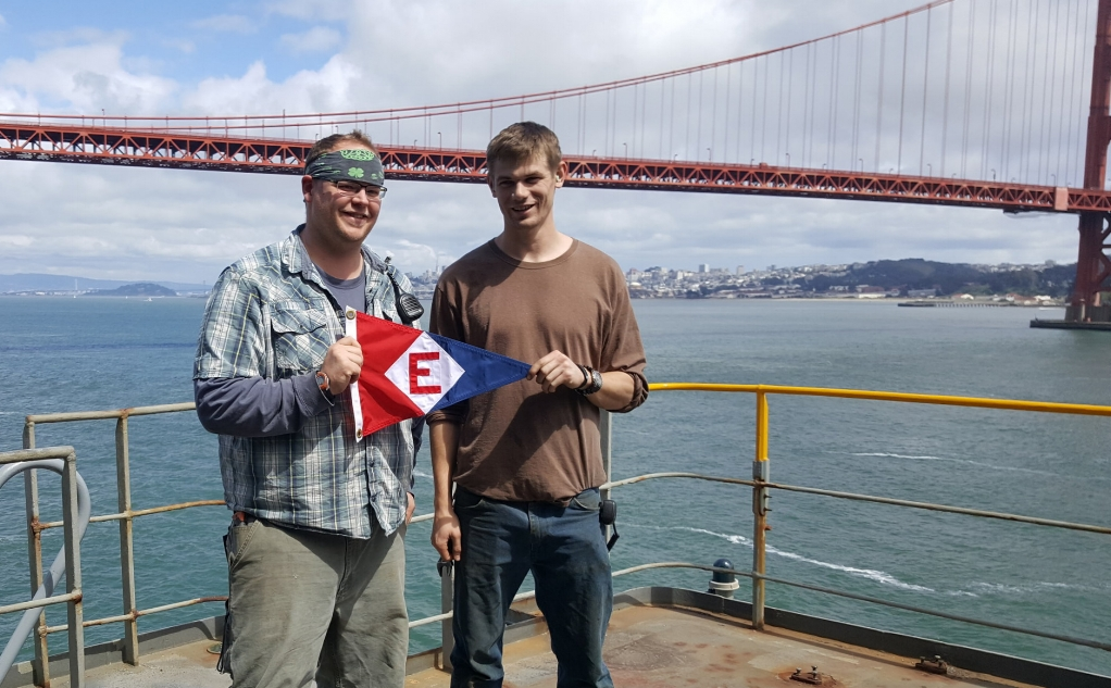 Chris Morrow and Ryan Ische aboard the USNS Yukon in San Francisco Bay