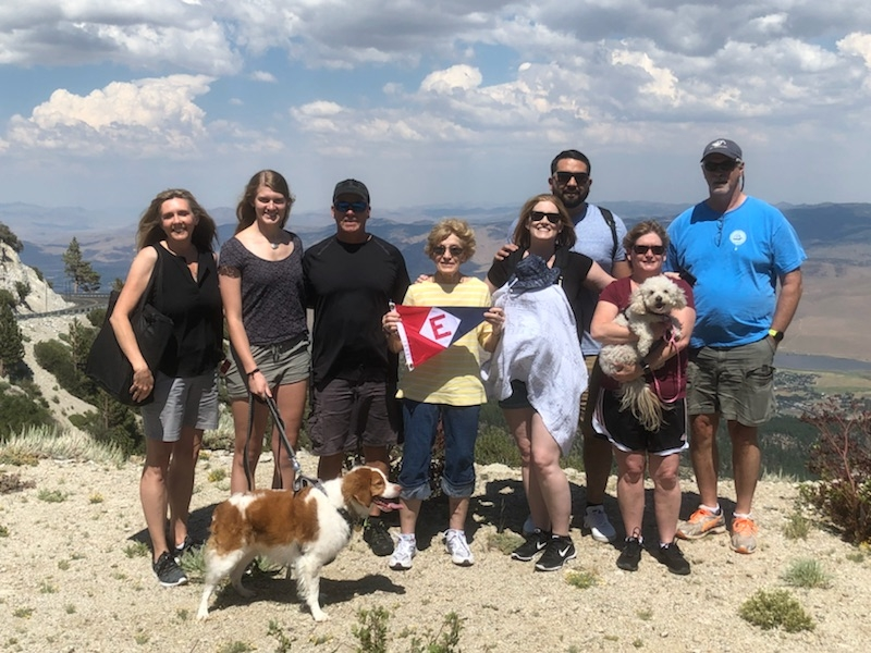 Blanche Chase and her family at the top of Mt. Rose in Nevada.