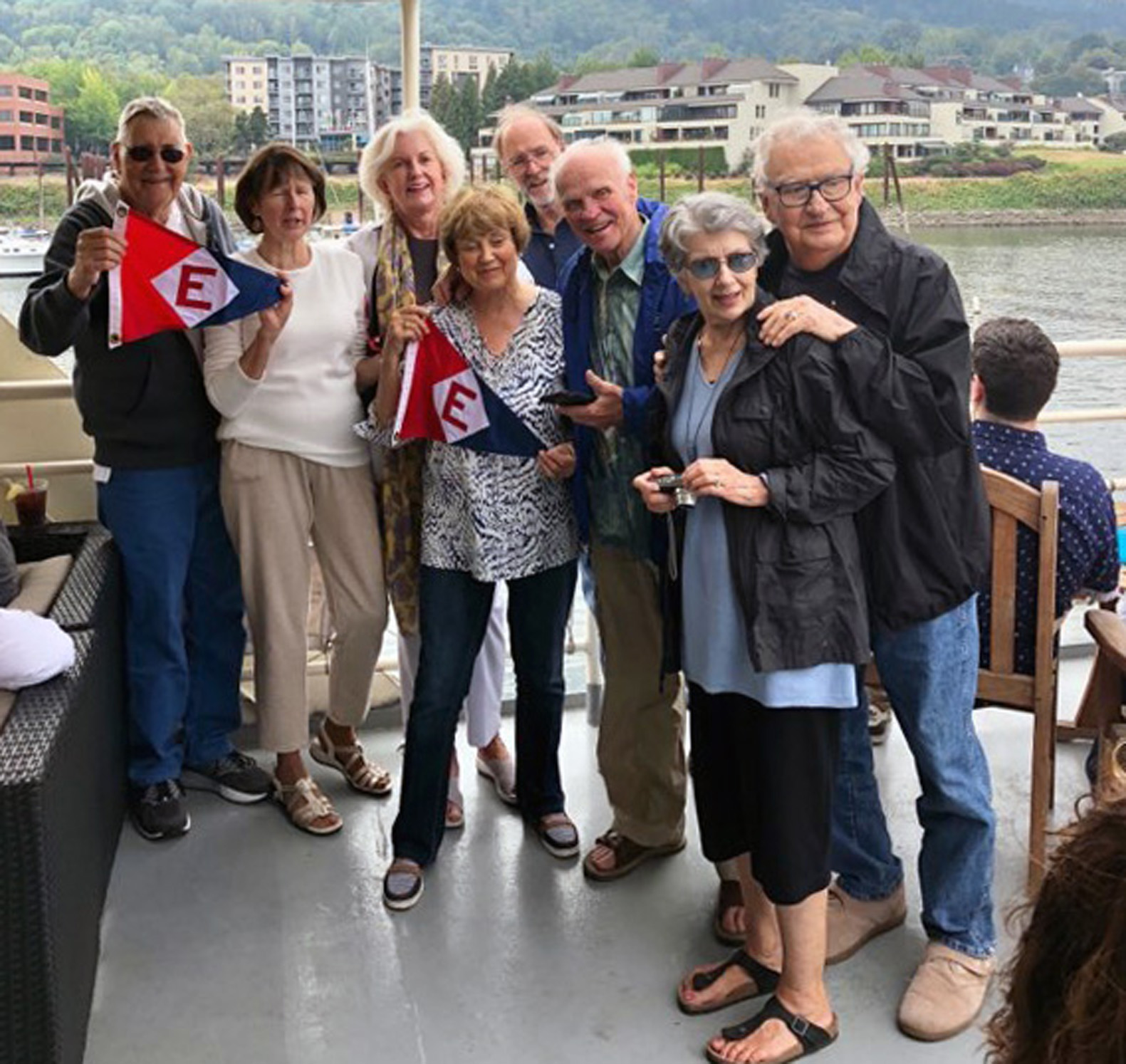 Celebrating Dave and Marji Clune's 50th wedding anniversary with the Swangards, the Ellsworths, and friends aboard the Portland Spirit on the Willamette River