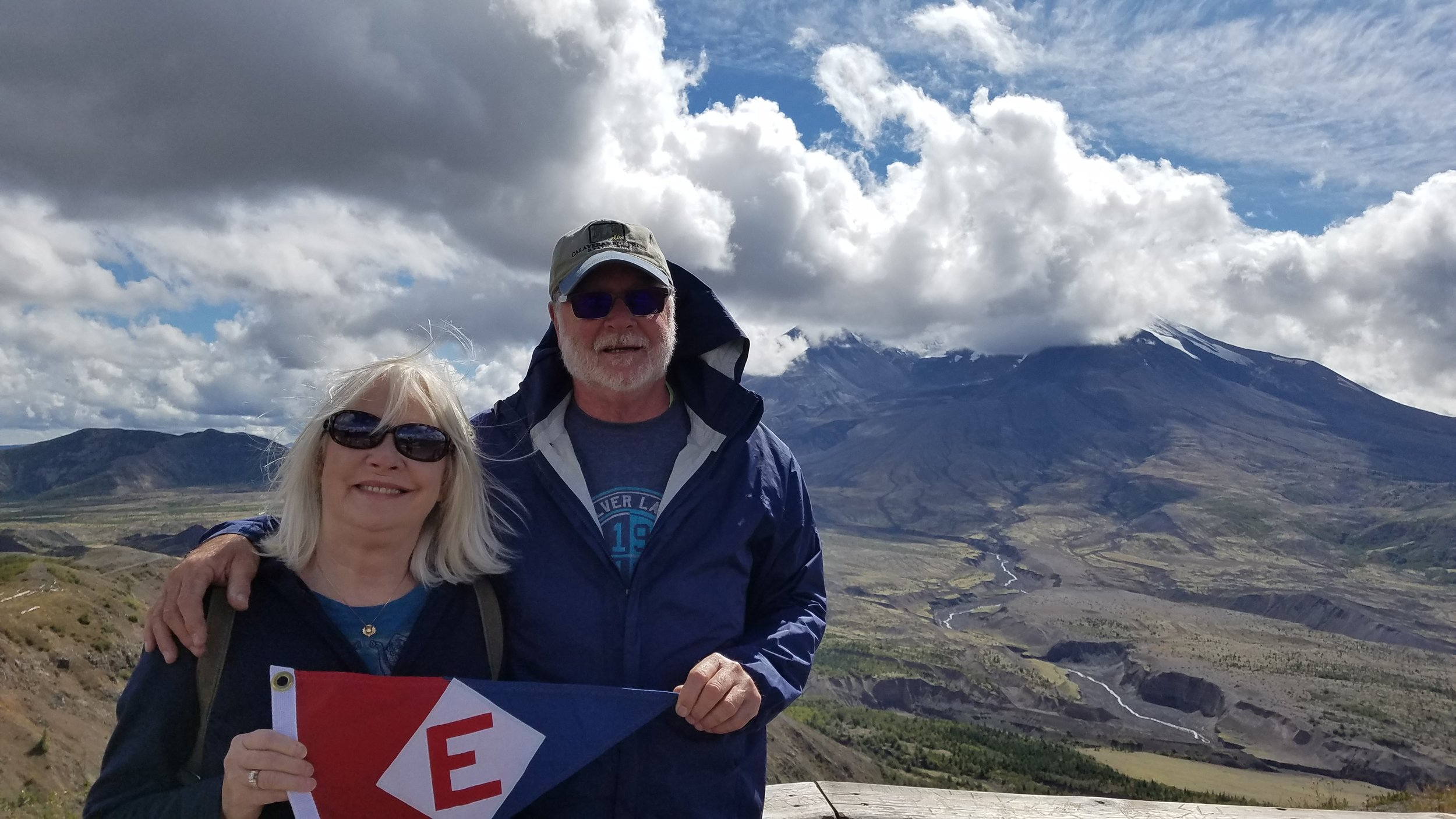 Linda & Murray McLeod at the foot of Mt St Helens