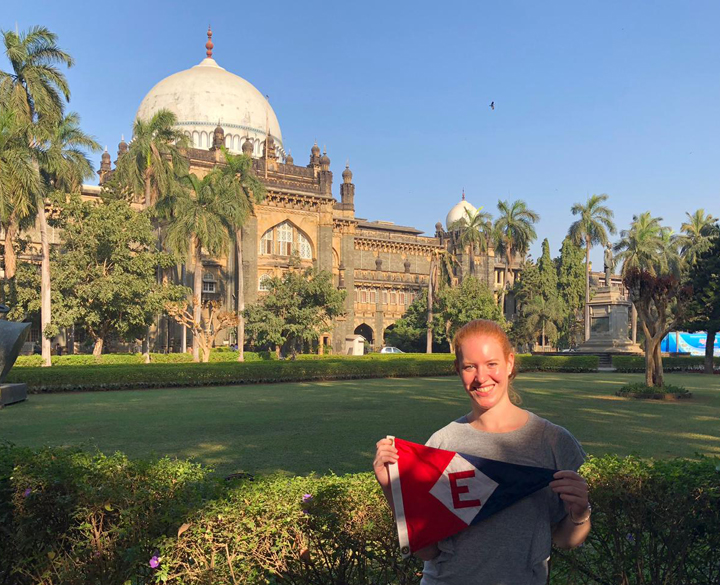 Sara Goetze, daughter of Gary & Jane Powell brought a little EYC with her on her trip to Mumbai, India.