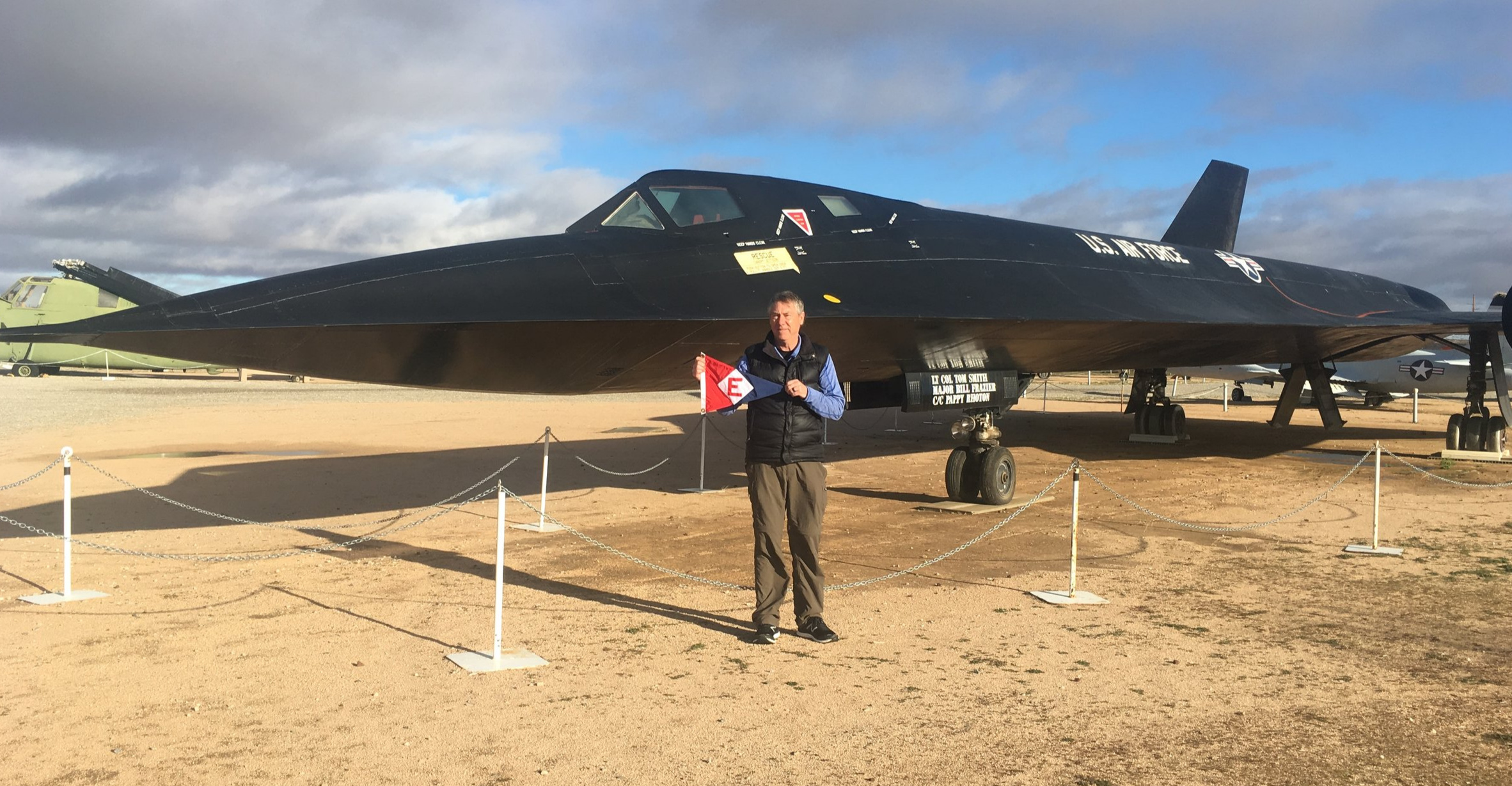 Commodore Bill Boyce shows his EYC pride while at Edwards Air Force Base in California.