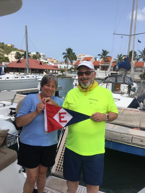 Katie & Chris Thomas show their EYC pride in St Maartens