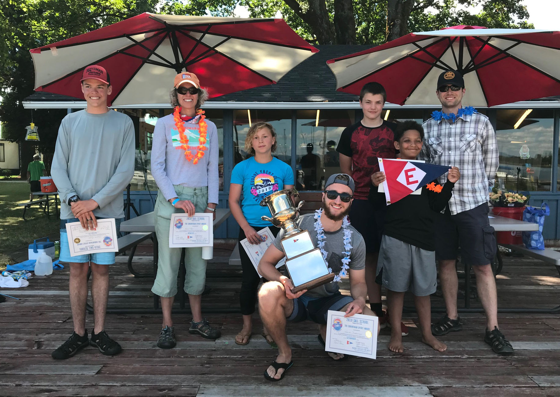 The Corinthian Spirit Award winners from 2019 EYC Sail School