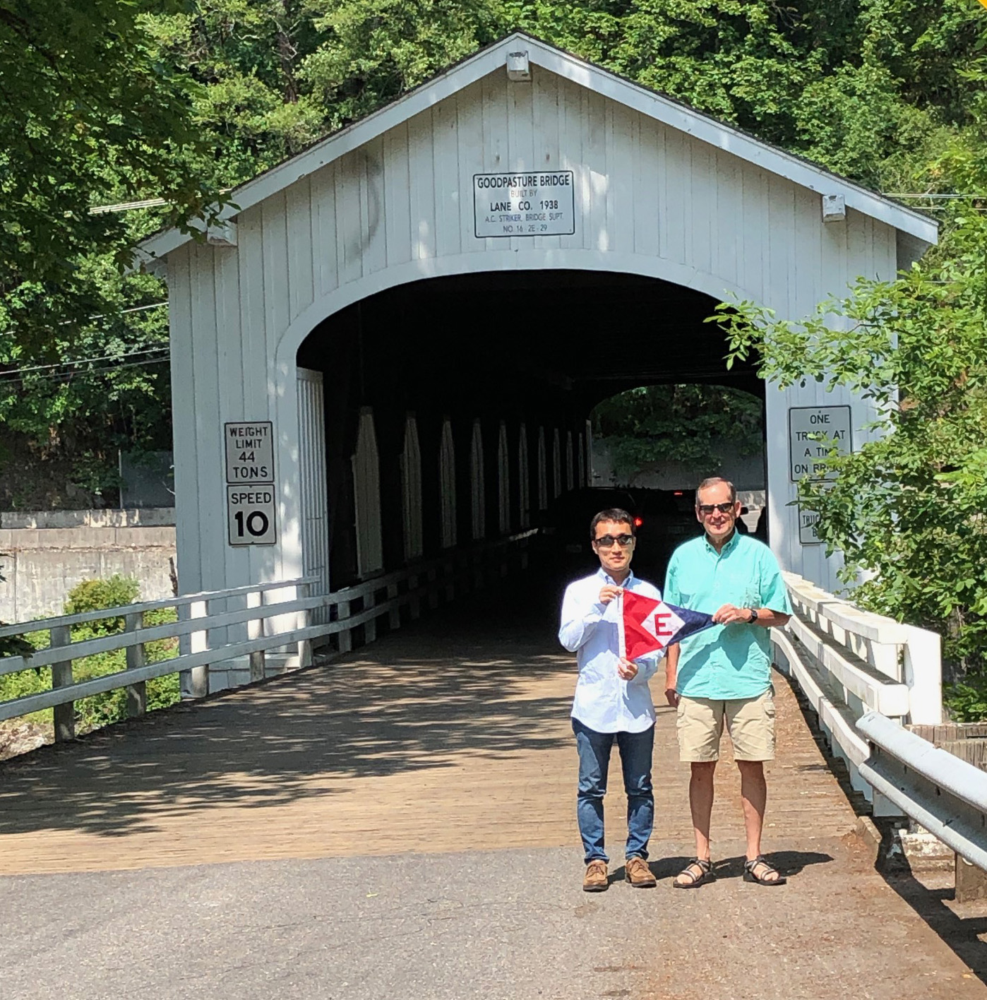 Gary Powell and Yoshihiro, a friend visiting from Japan, at the Goodpasture Covered Bridge in Lane County