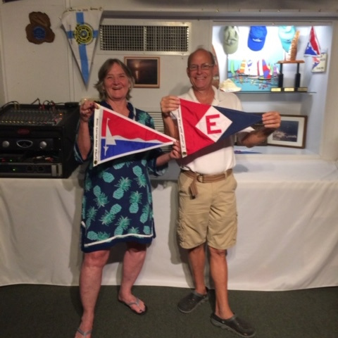 Michelle exchanges burgees with the Upper Keys Sailing Club on Key Largo, Florida