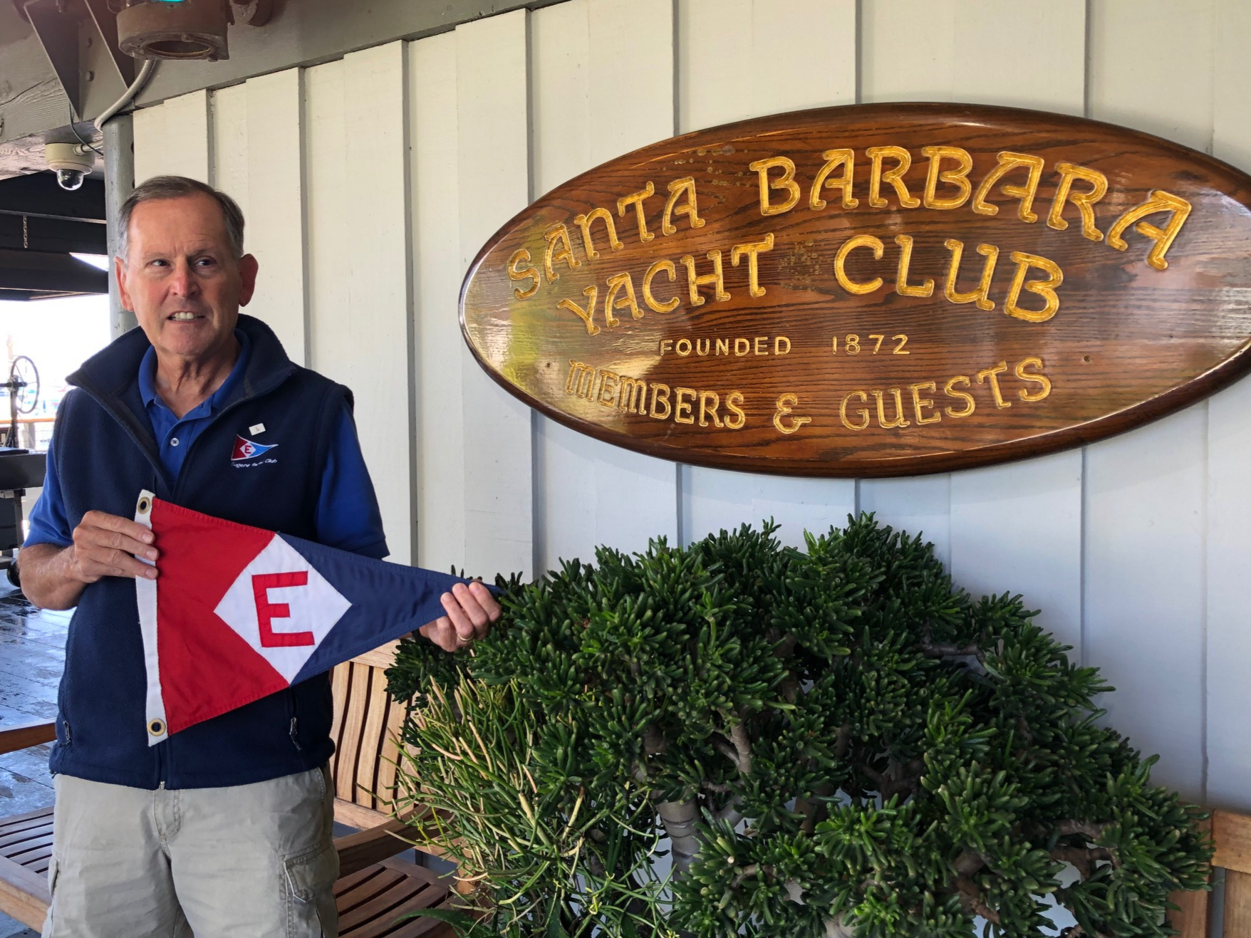 Gary before the burgee exchange with Santa Barbara Yacht Club in California