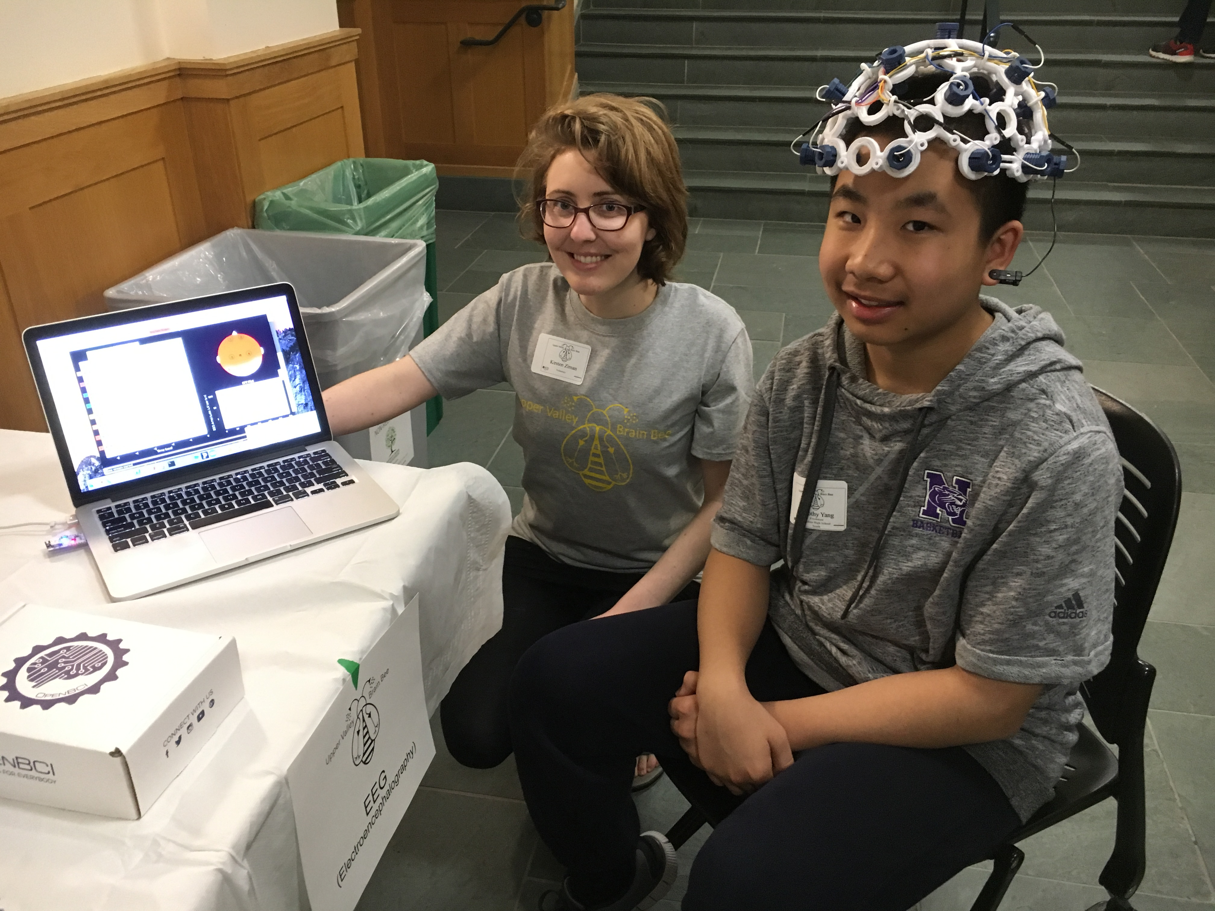 PBS Graduate Student and EPSCoR Attention Consortium Member,Kirsten Ziman, TEACHING the public about EEG recordings using a 3D printed headset during the Brain Bee on April 22nd, 2017 at Dartmouth College.