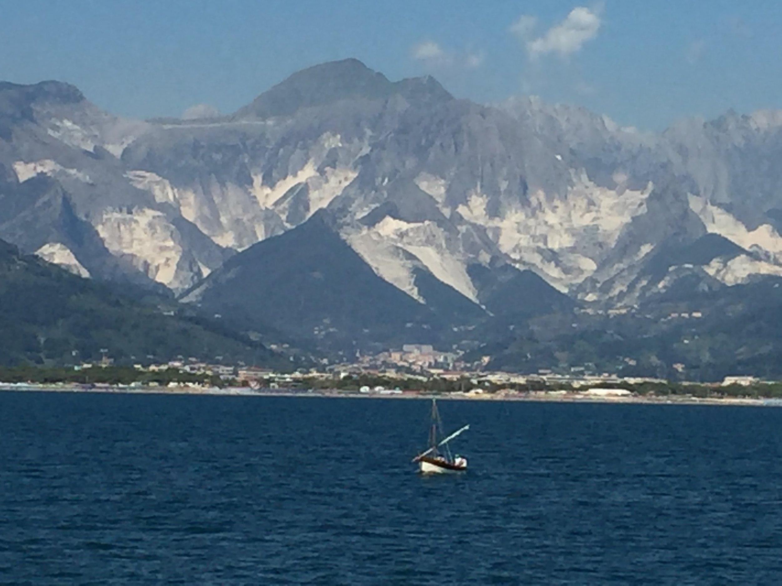 View of the marble mines in Carrara from the passenger ferry between Viareggio and the Cinque Terre