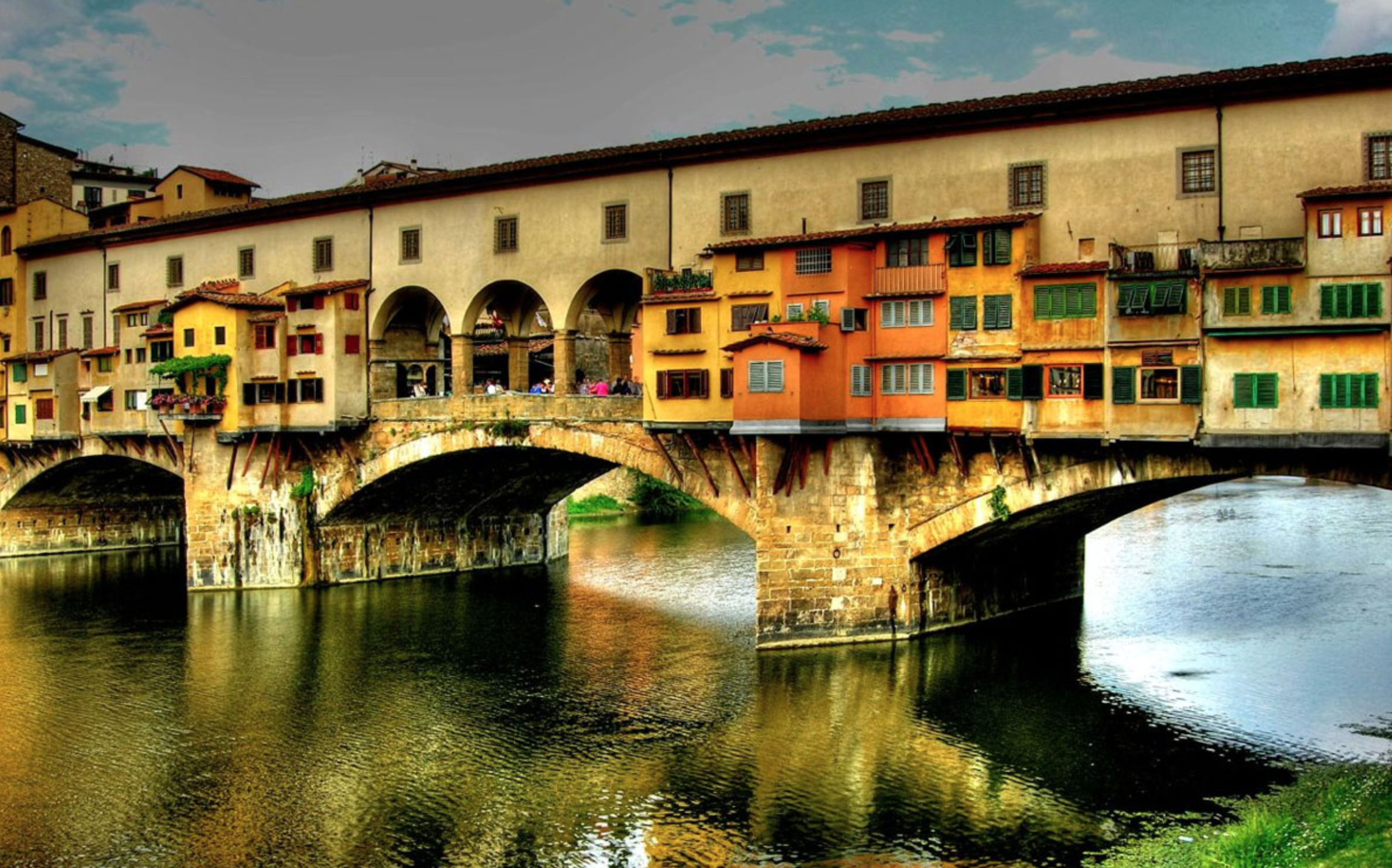 The Ponte Vecchio spans the Arno and features shops and restaurants.