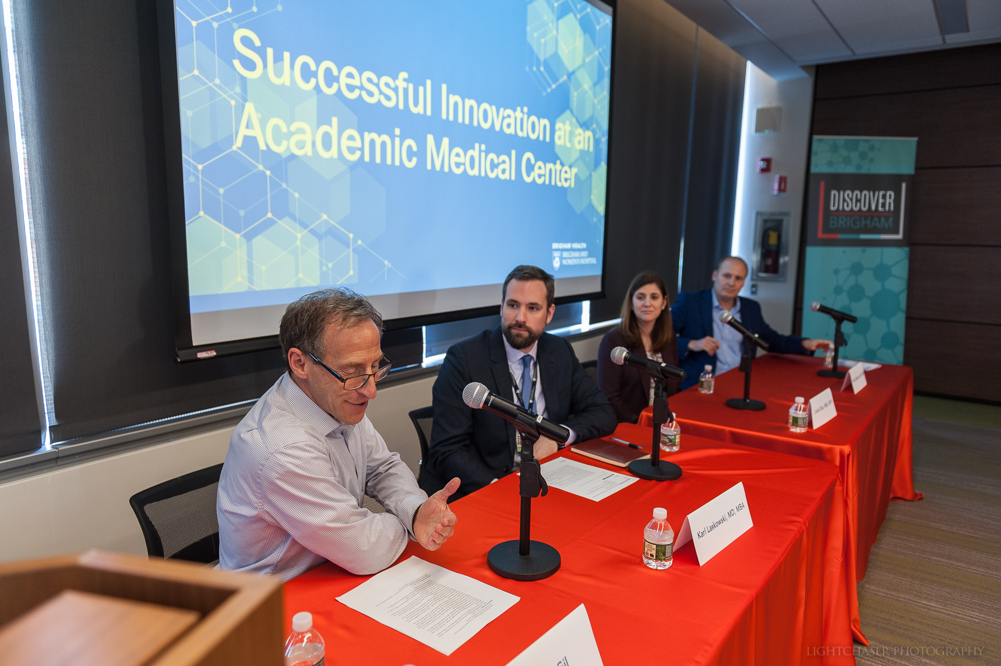 """Successful Innovation at an AMC – Discover Brigham   At the 2018 Discover Brigham celebration, Josie Elias, MBA, MPH, joined members of BCRISP and Herald Health during the """"Successful Innovation at an AMC"""" panel discussion, discussing first hand experiences of successfully growing and piloting ventures at the Brigham."""
