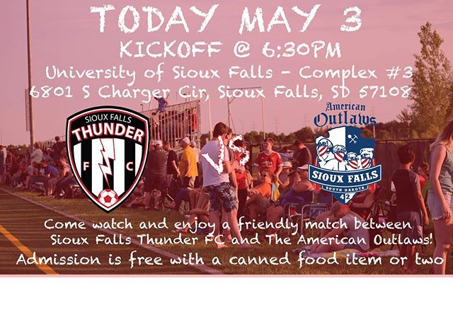 Friday night!  Who's coming out for a soccer match? Entry once again will be food items for Feeding South Dakota. Please spread the word and share this post with your friends and family!  @americanoutlaws @feedingsd