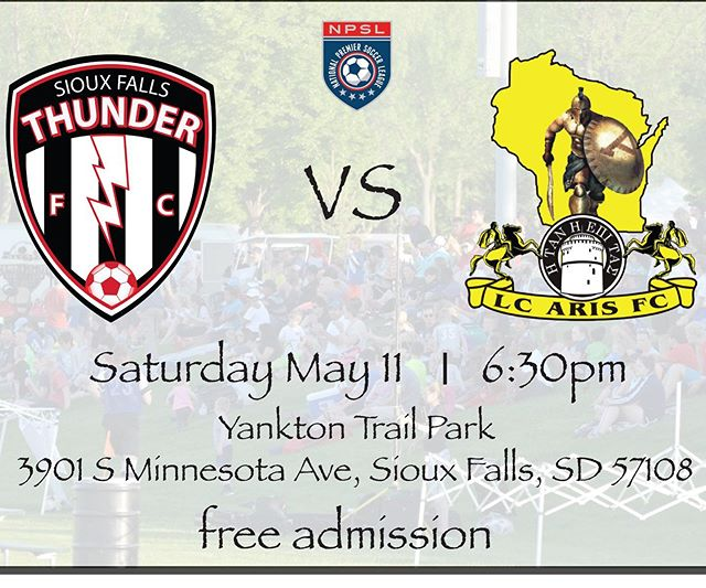 Come out to support your local Sioux Falls soccer team this Saturday as we take on LC Aris FC at 6:30 @npsl_north @npslsoccer